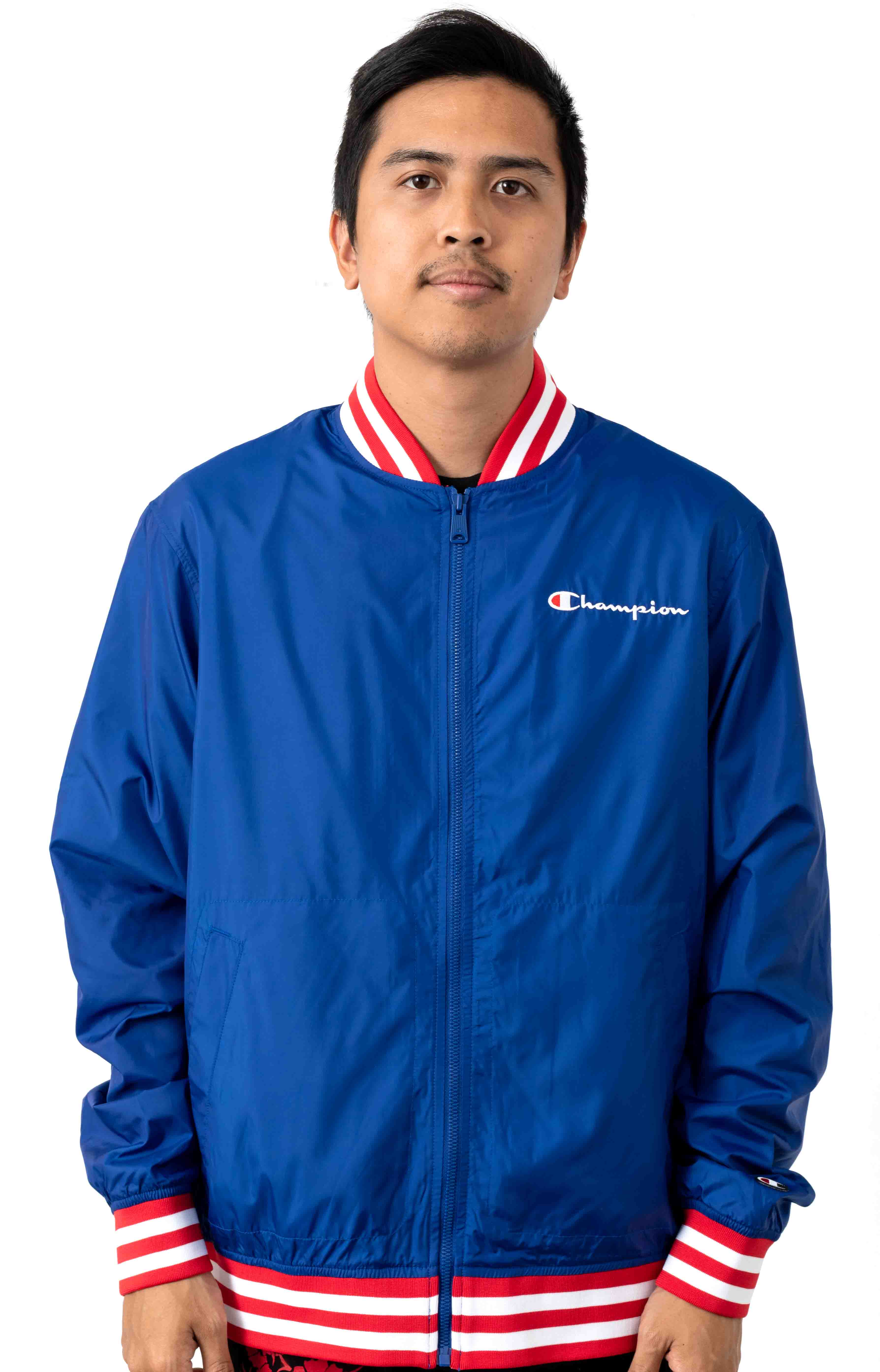 Satin Champion Embroidered Script Baseball Jacket - Surf The Web/Scarlet