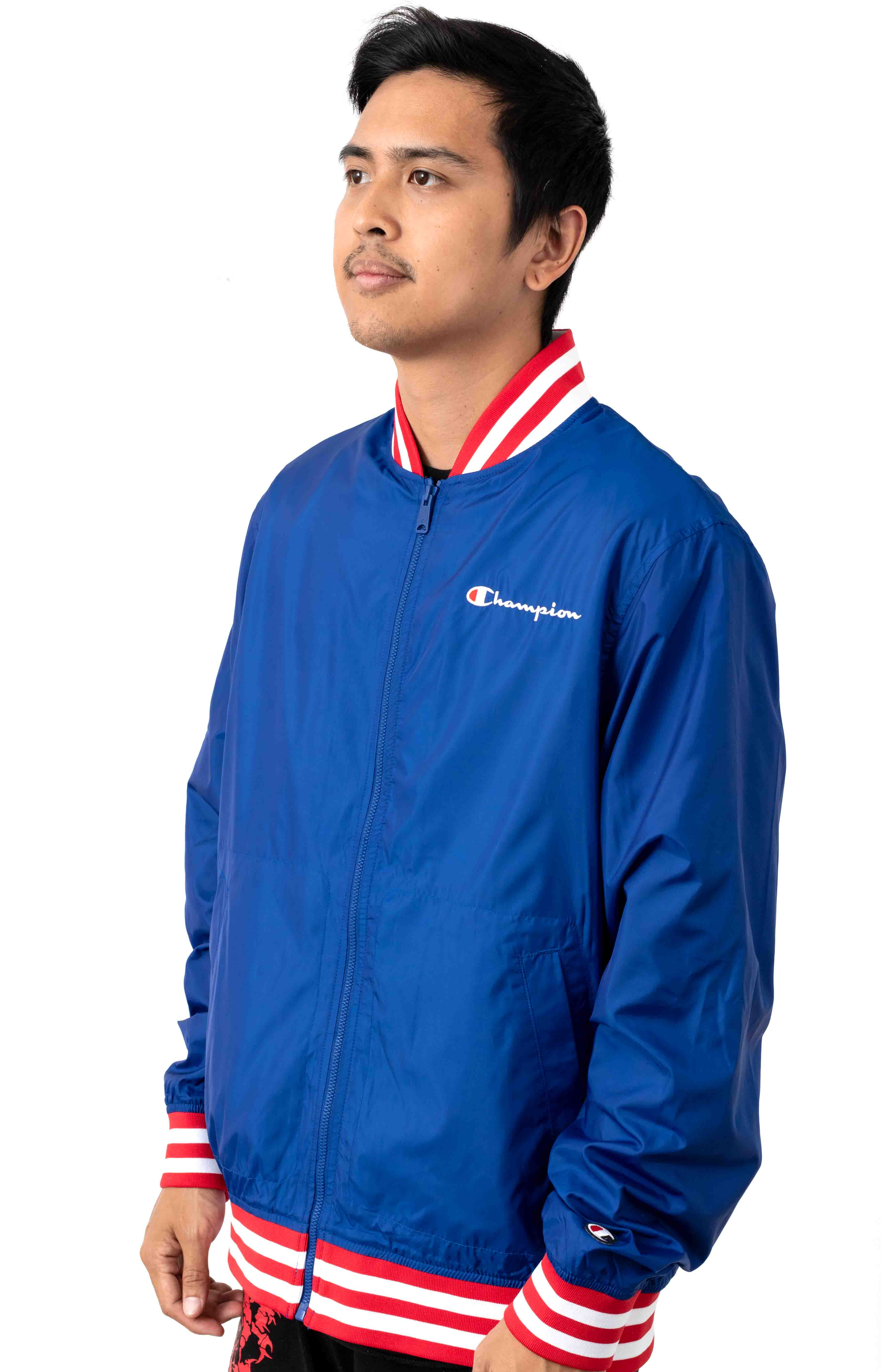 Satin Champion Embroidered Script Baseball Jacket - Surf The Web/Scarlet 2