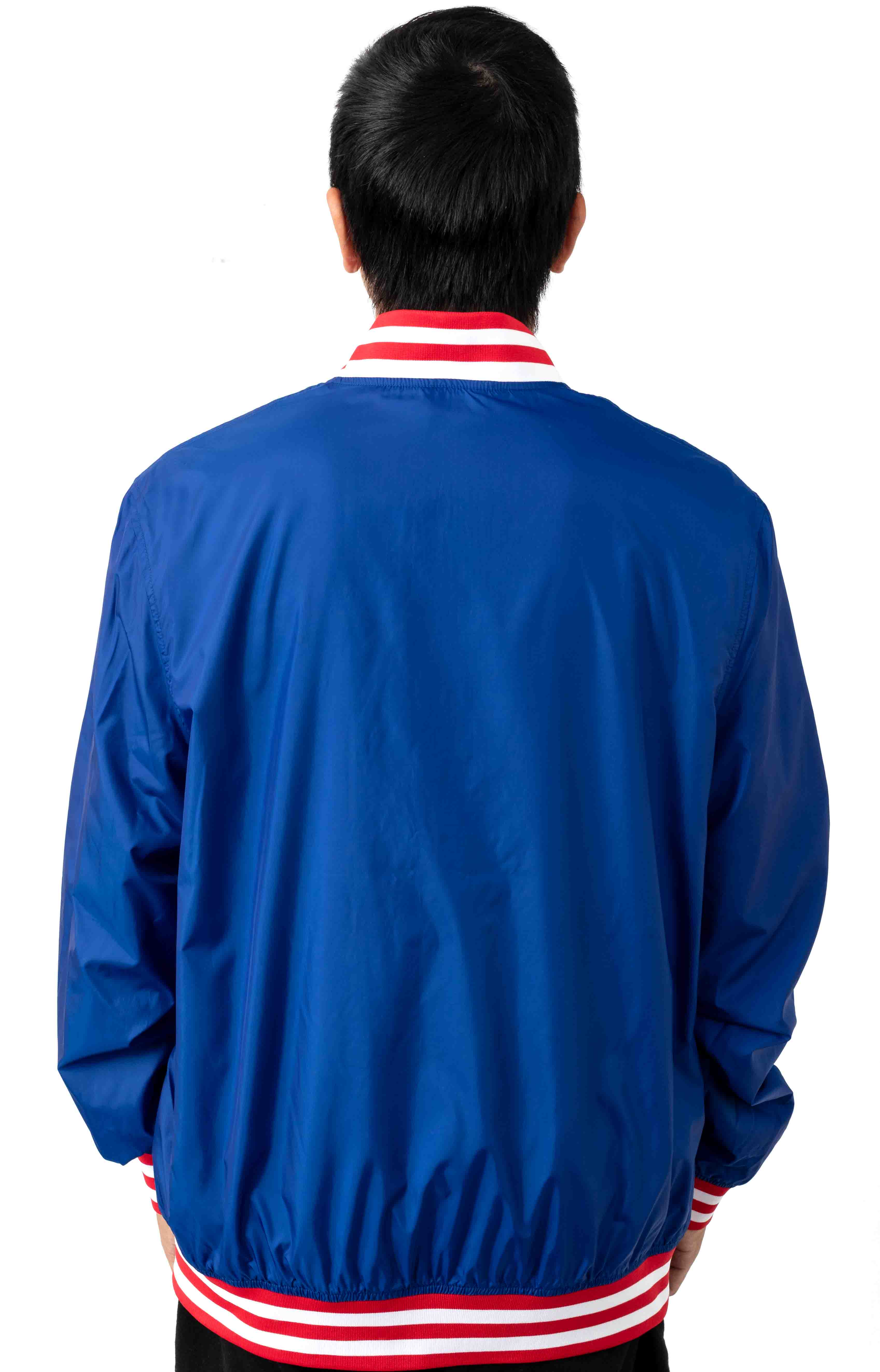 Satin Champion Embroidered Script Baseball Jacket - Surf The Web/Scarlet 3
