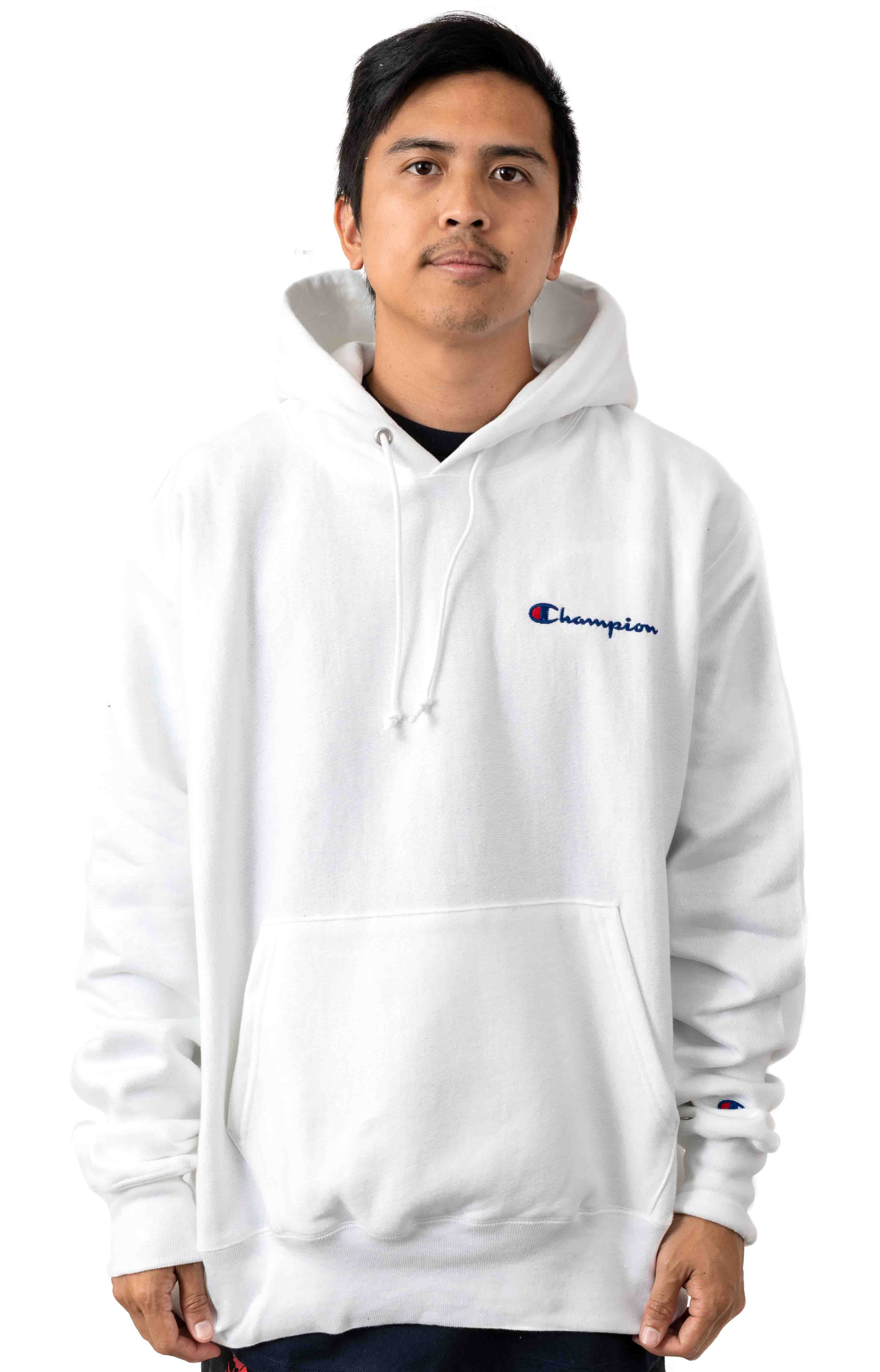 Reverse Weave Embroidered Script Pullover Hoodie - White