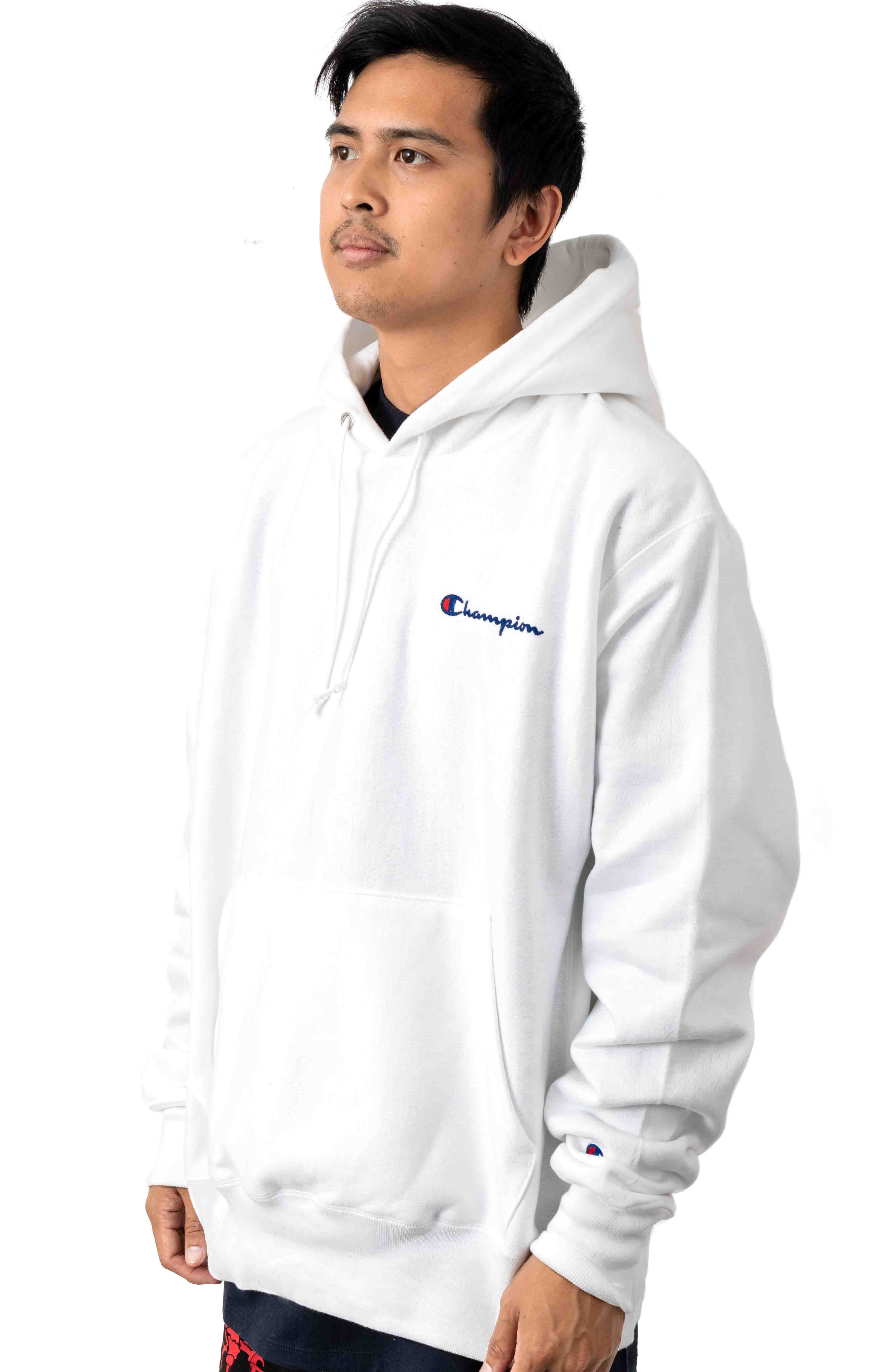 Reverse Weave Embroidered Script Pullover Hoodie - White  2