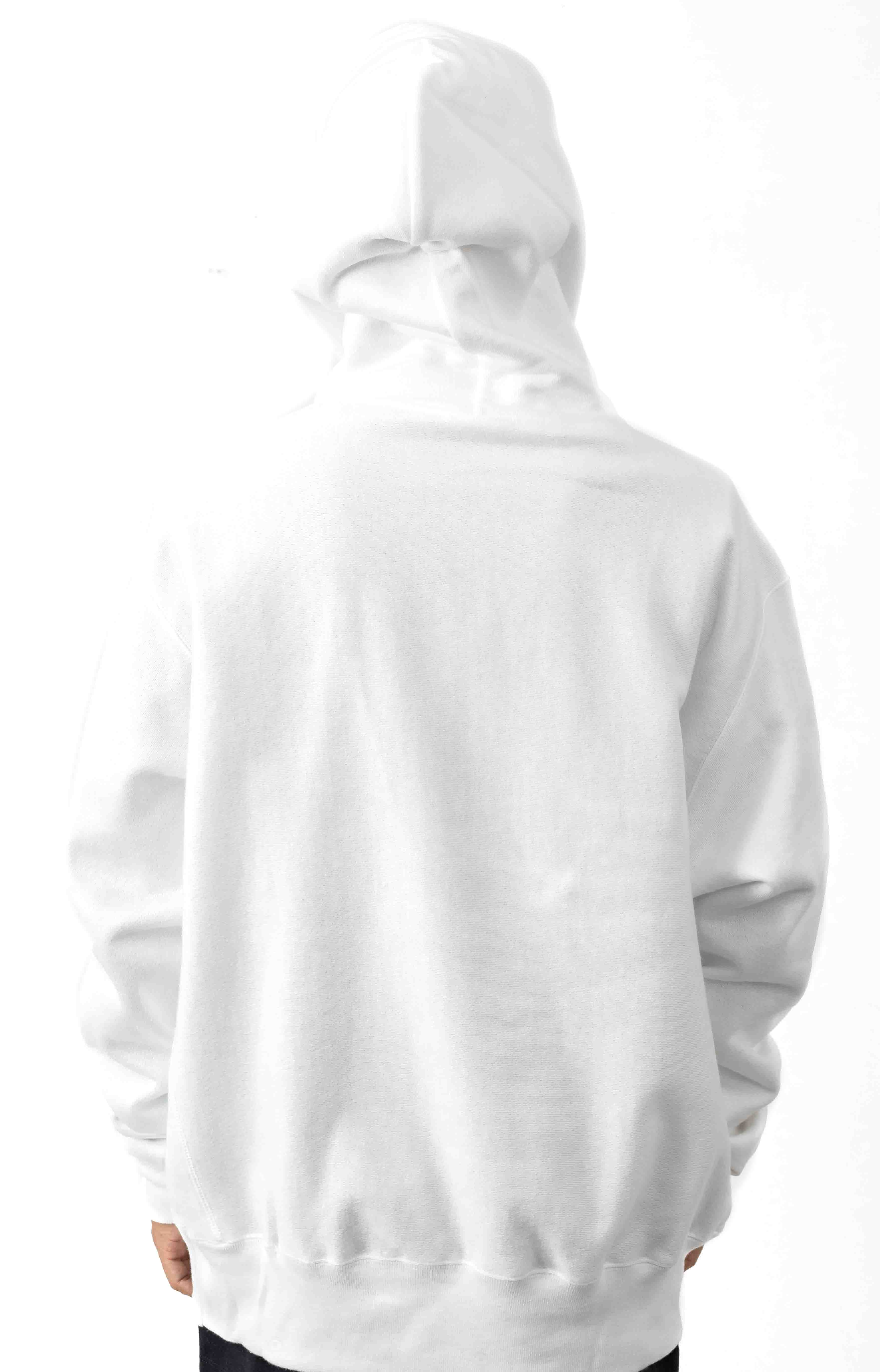 Reverse Weave Embroidered Script Pullover Hoodie - White  3