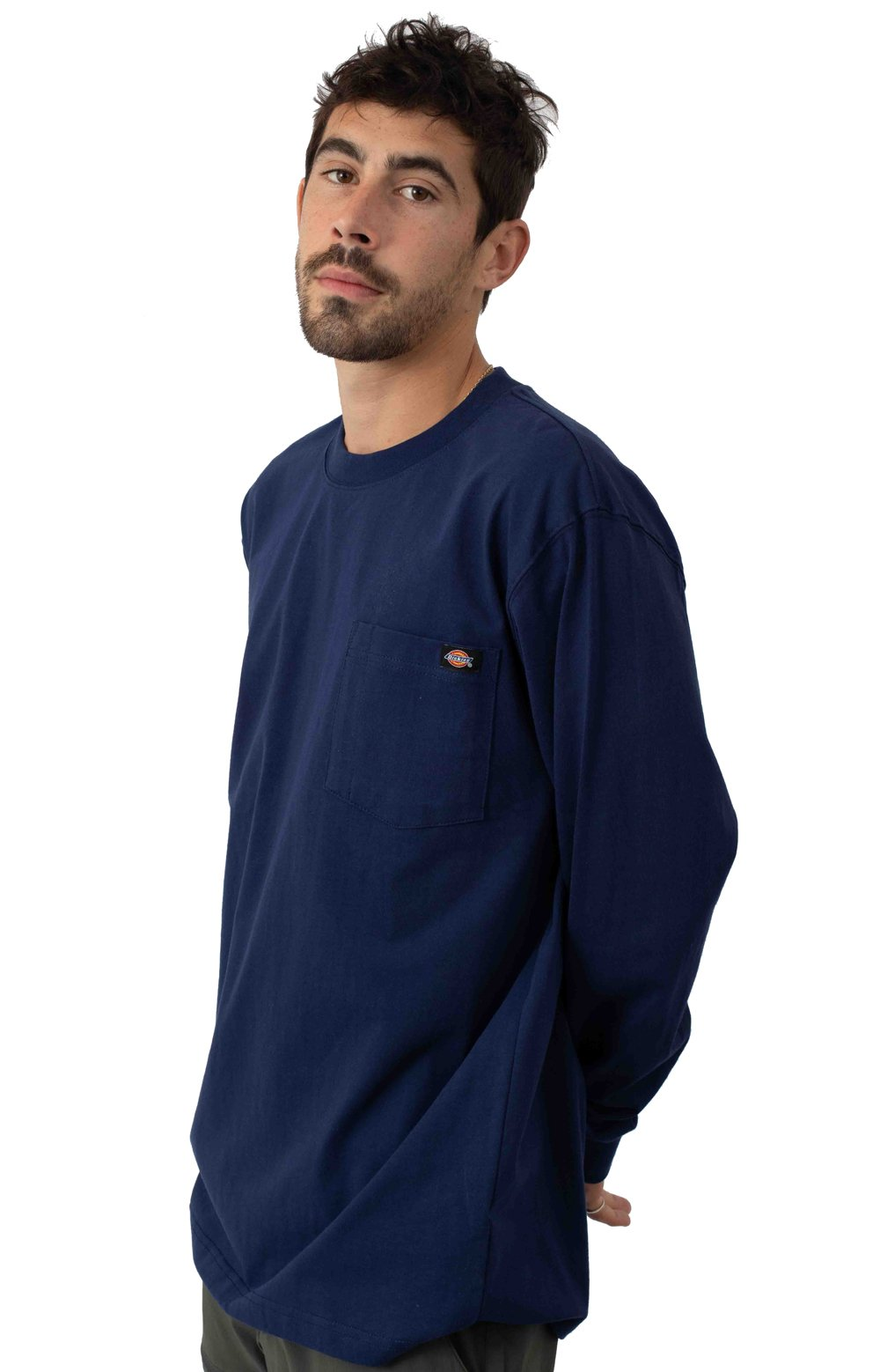 (WL450EL) Long Sleeve Heavyweight Crew Neck Shirt - Deep Blue 2