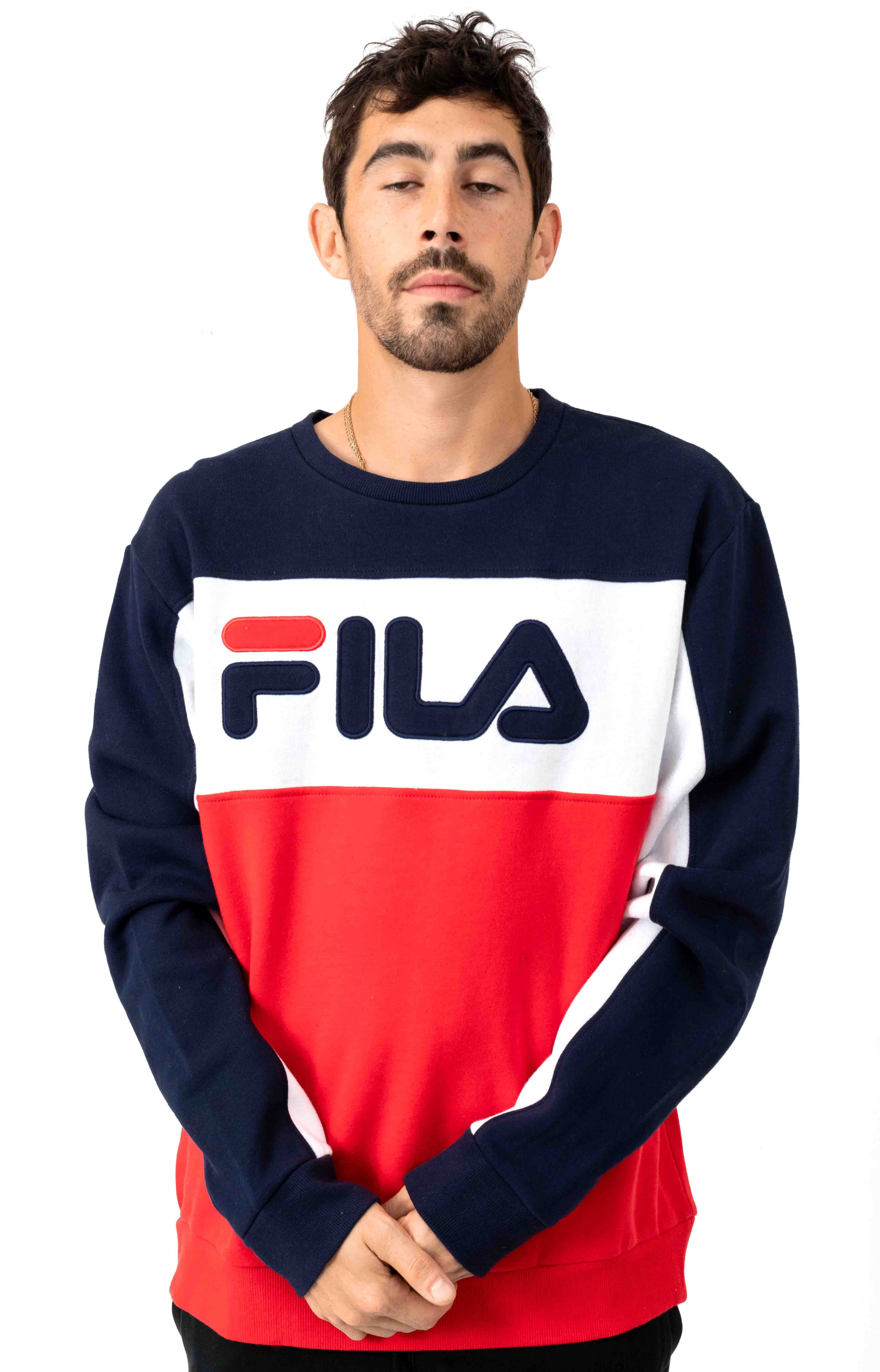 FILA, Lesner Fleece Crewneck - Peacoat/White/Red