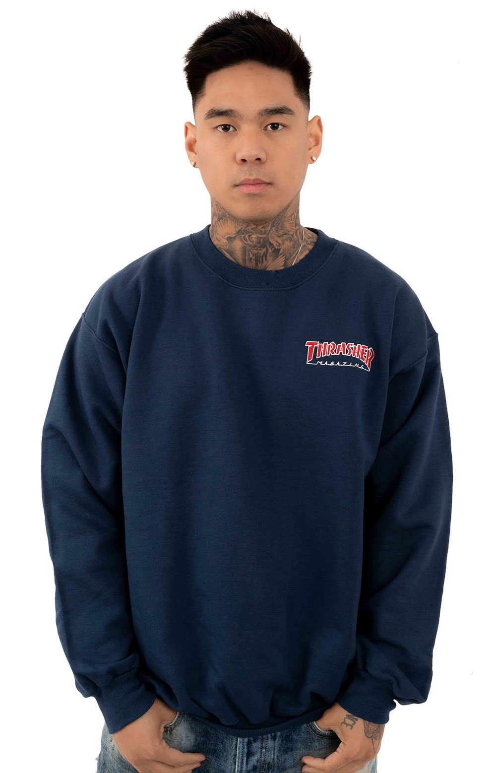 Embroidered Outlined Crewneck