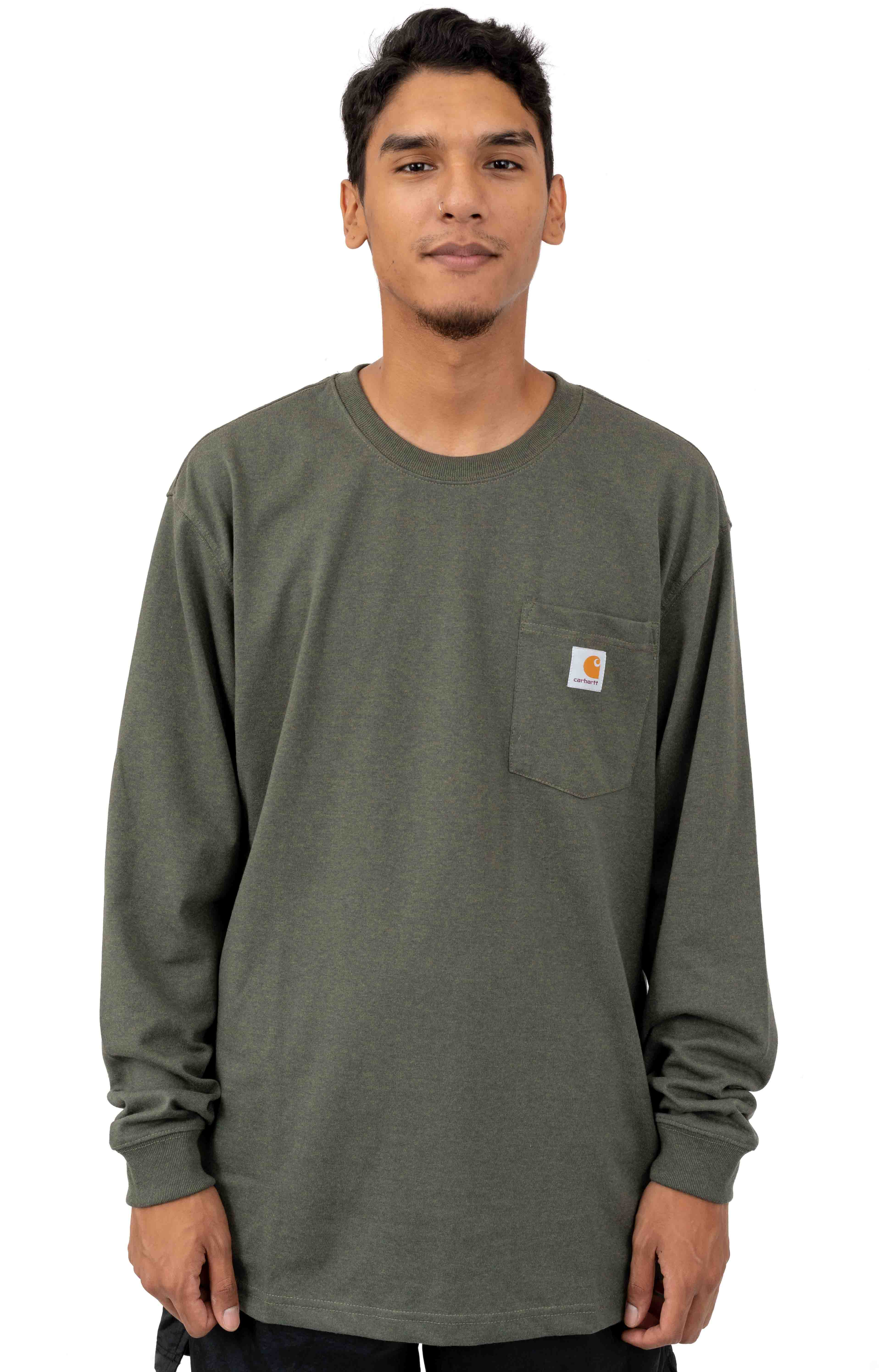 (K126) L/S Workwear Pocket Shirt - Olivine Heather