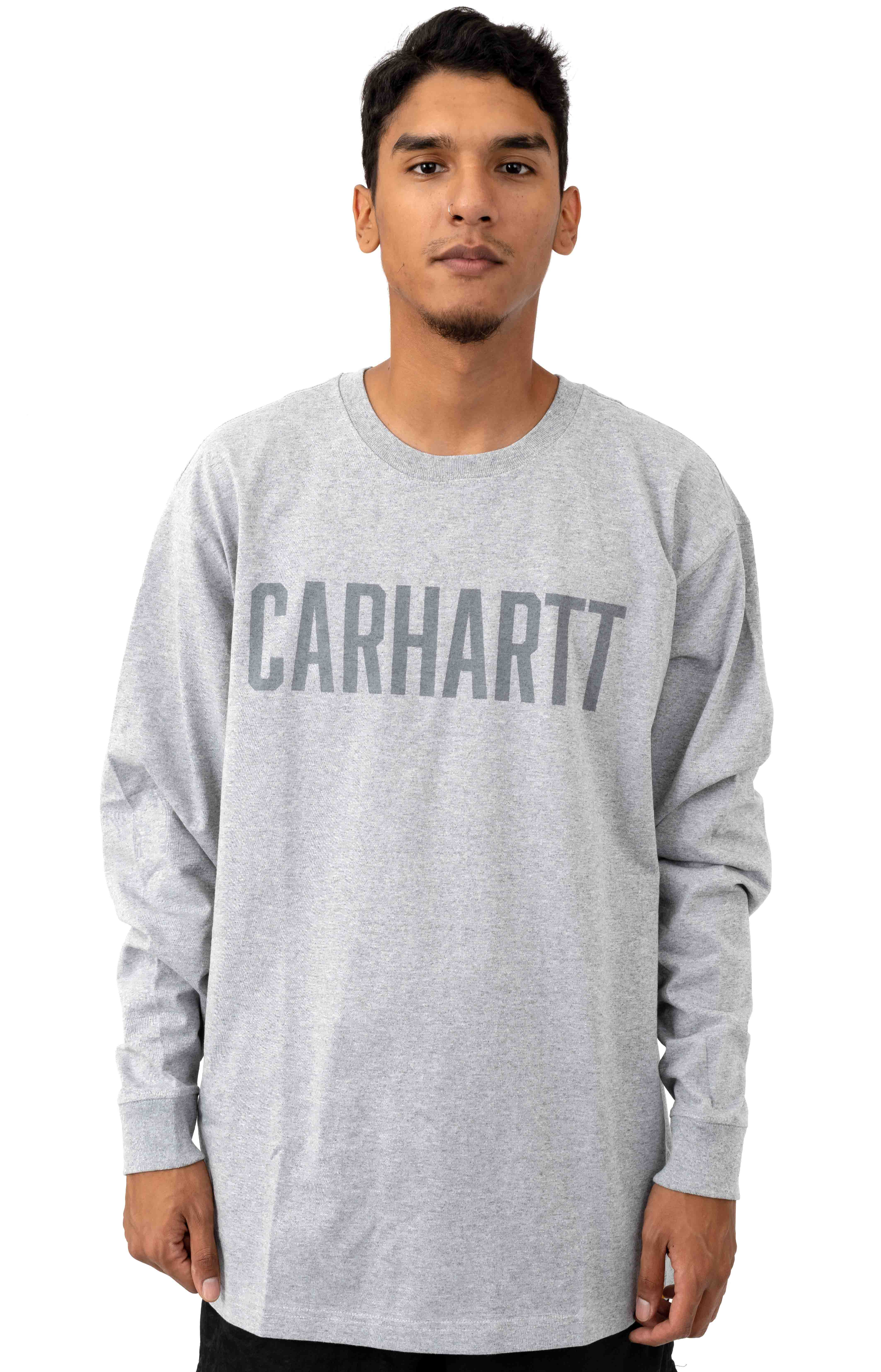 (103841) Workwear Block Logo Graphic L/S Shirt - Heather Grey