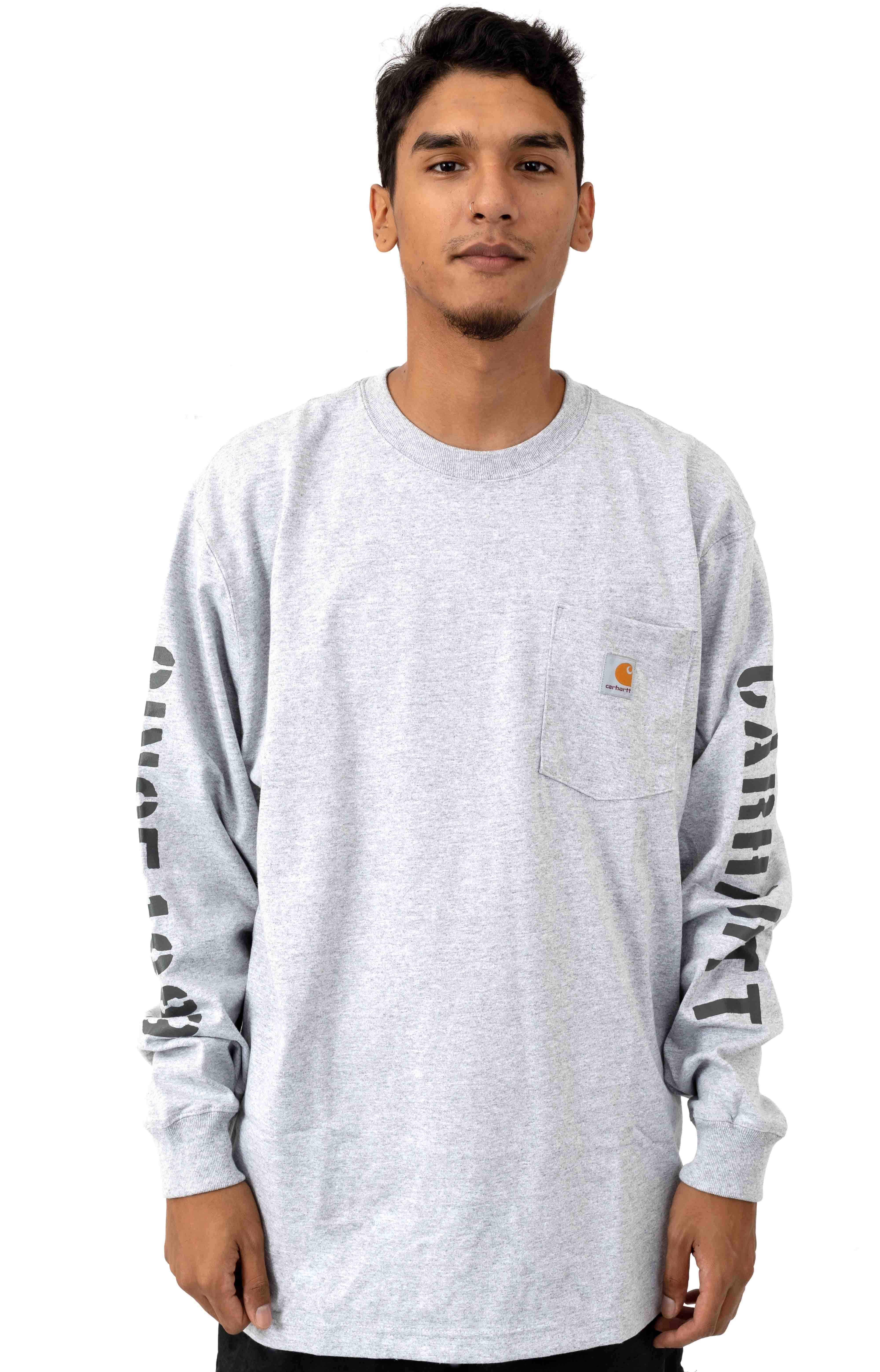 (103845) Workwear Double Sleeve Graphic L/S Pocket Shirt - Heather Grey 2