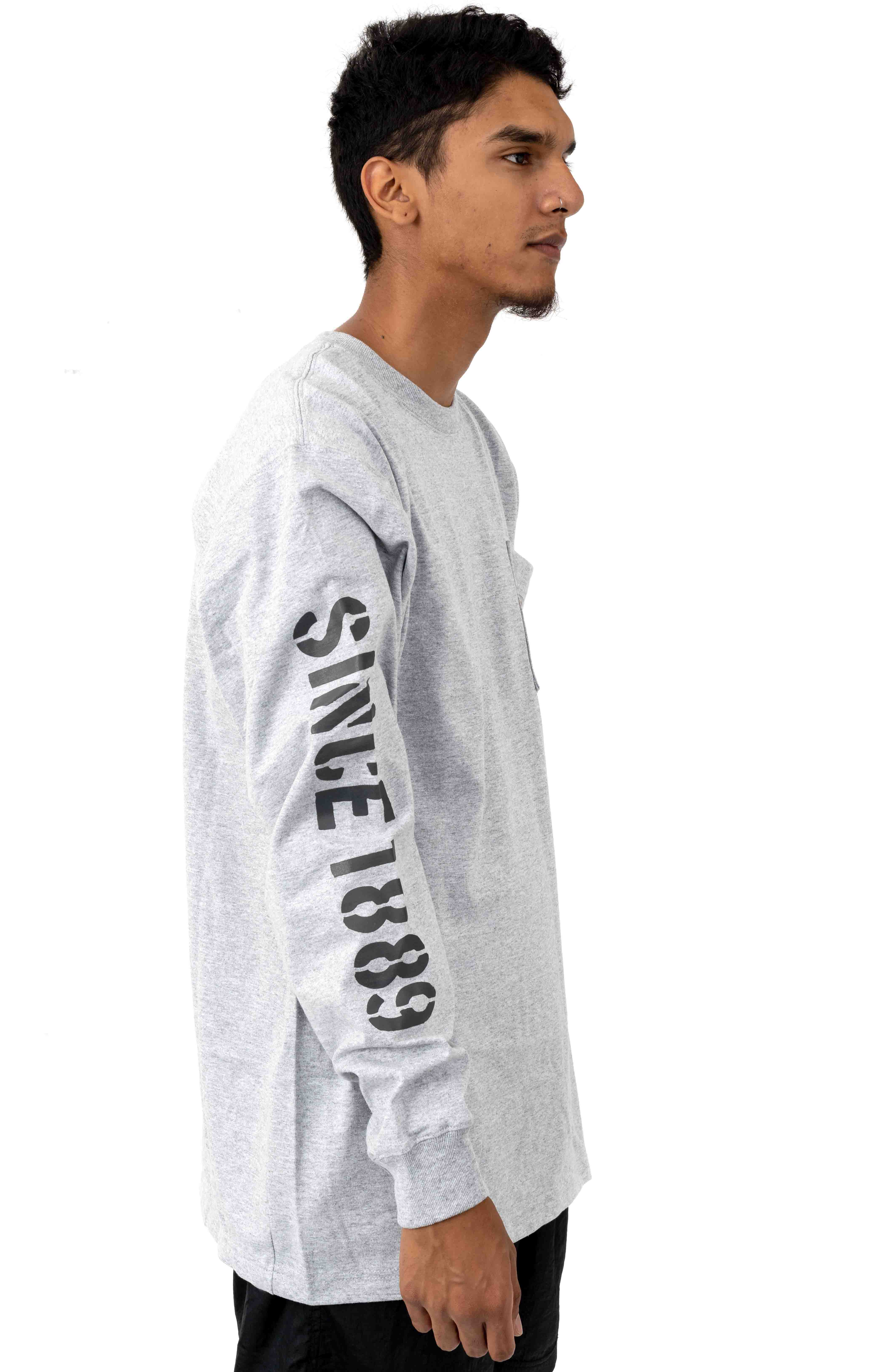 (103845) Workwear Double Sleeve Graphic L/S Pocket Shirt - Heather Grey 3