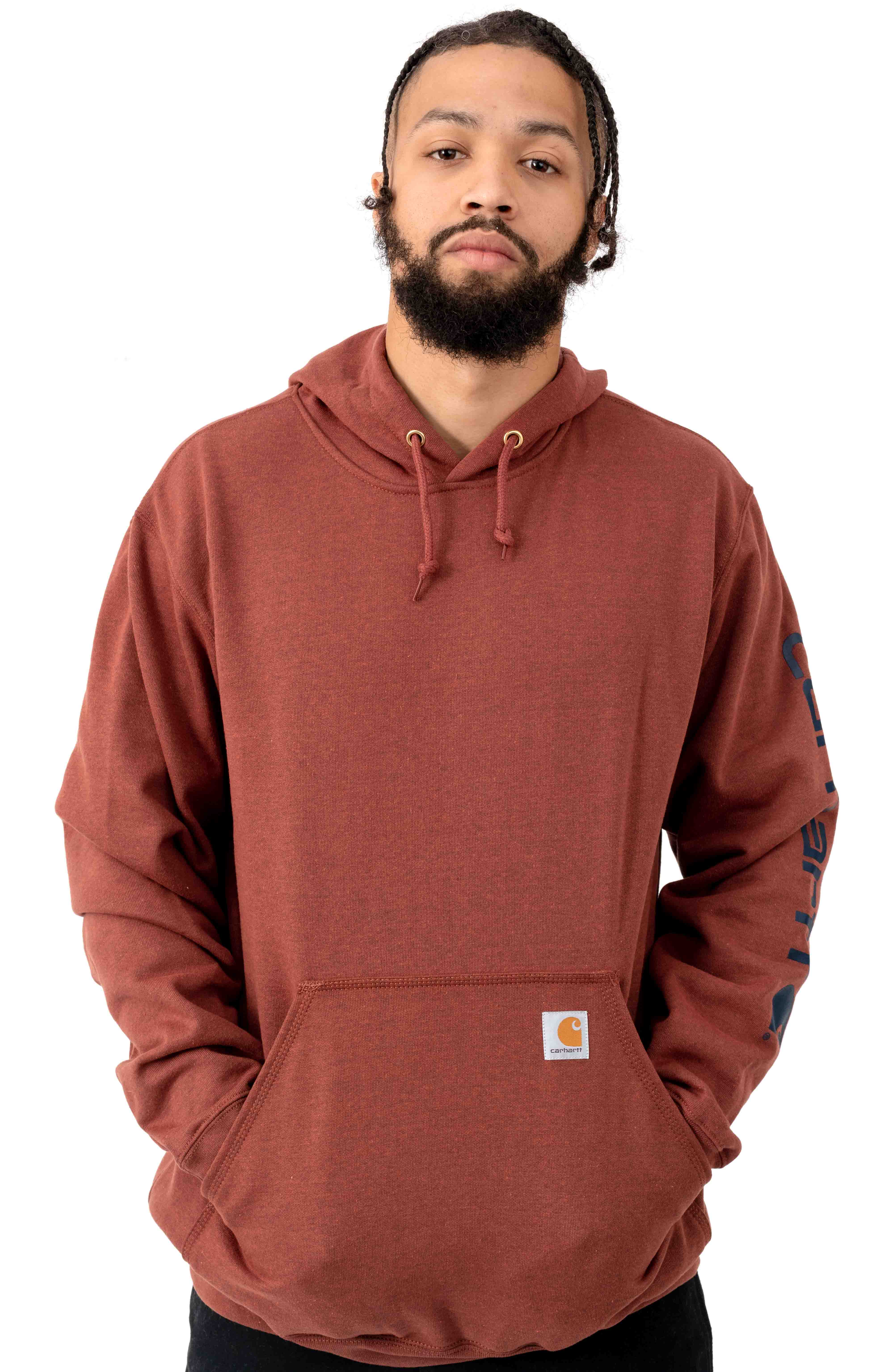 (K288) MW Signature Sleeve Logo Pullover Hoodie - Henna Heather
