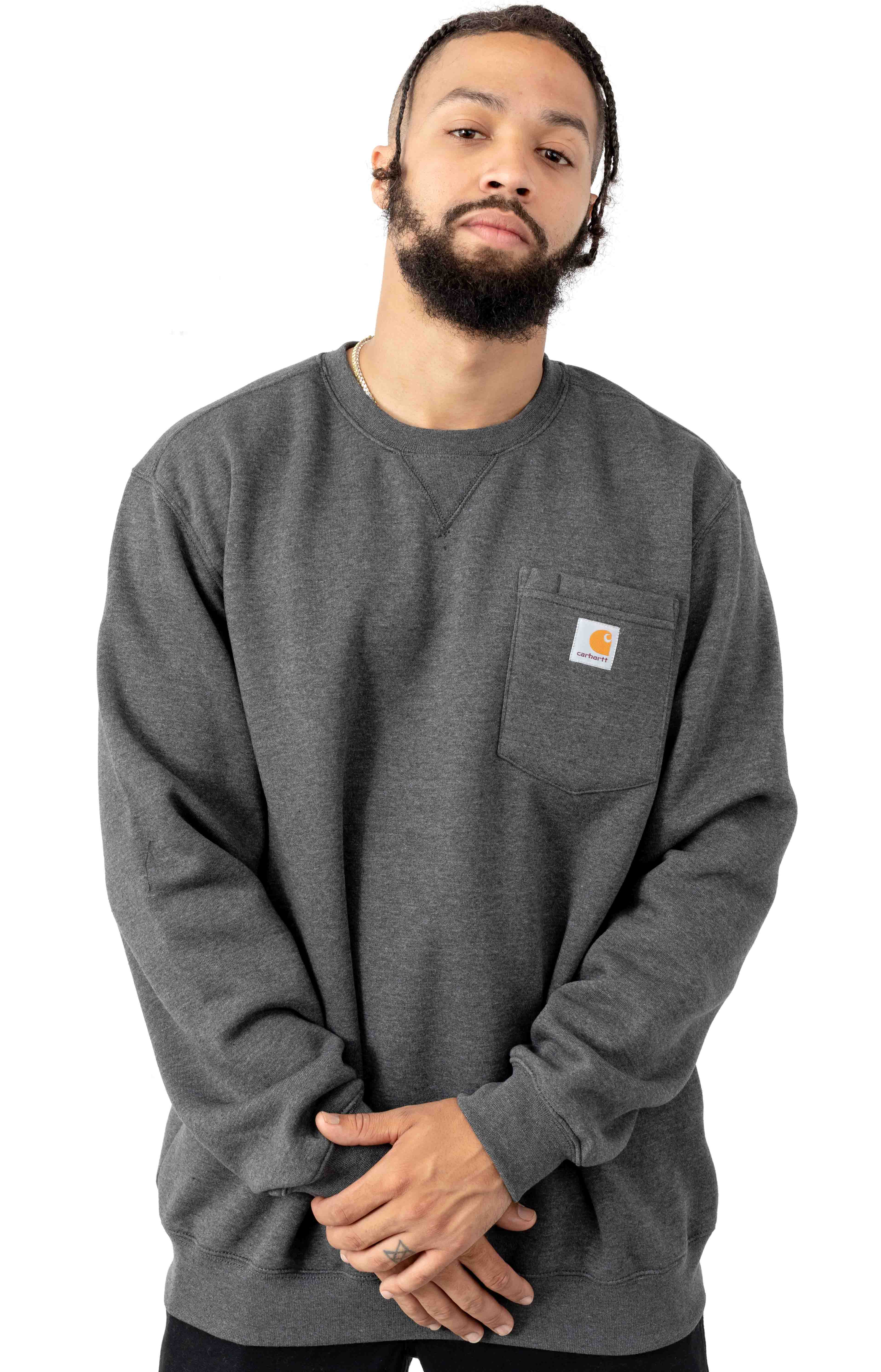 (103852) Crewneck Pocket Sweatshirt - Carbon Heather