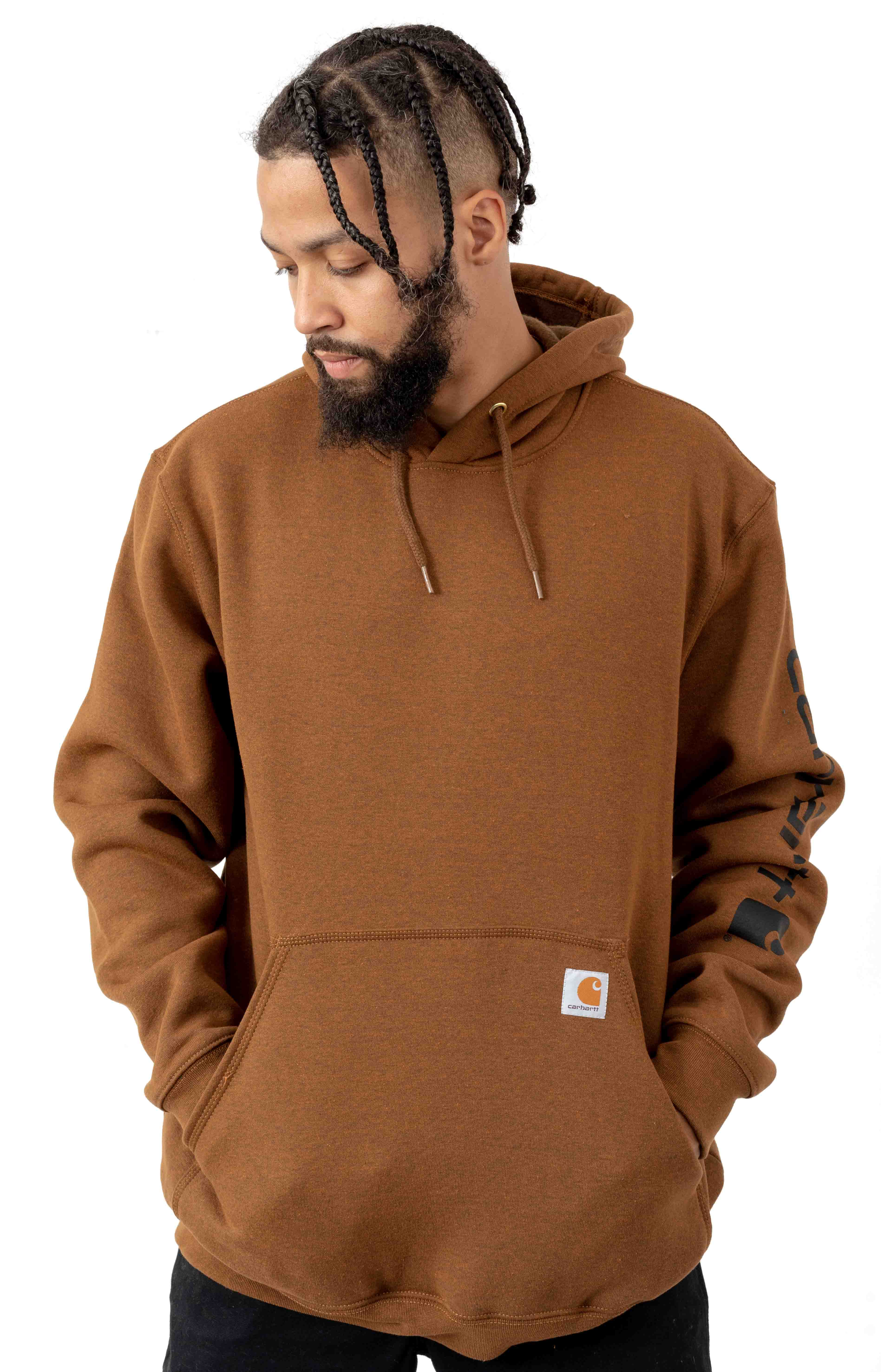 (K288) MW Signature Sleeve Logo Pullover Hoodie - Oiled Walnut Heather
