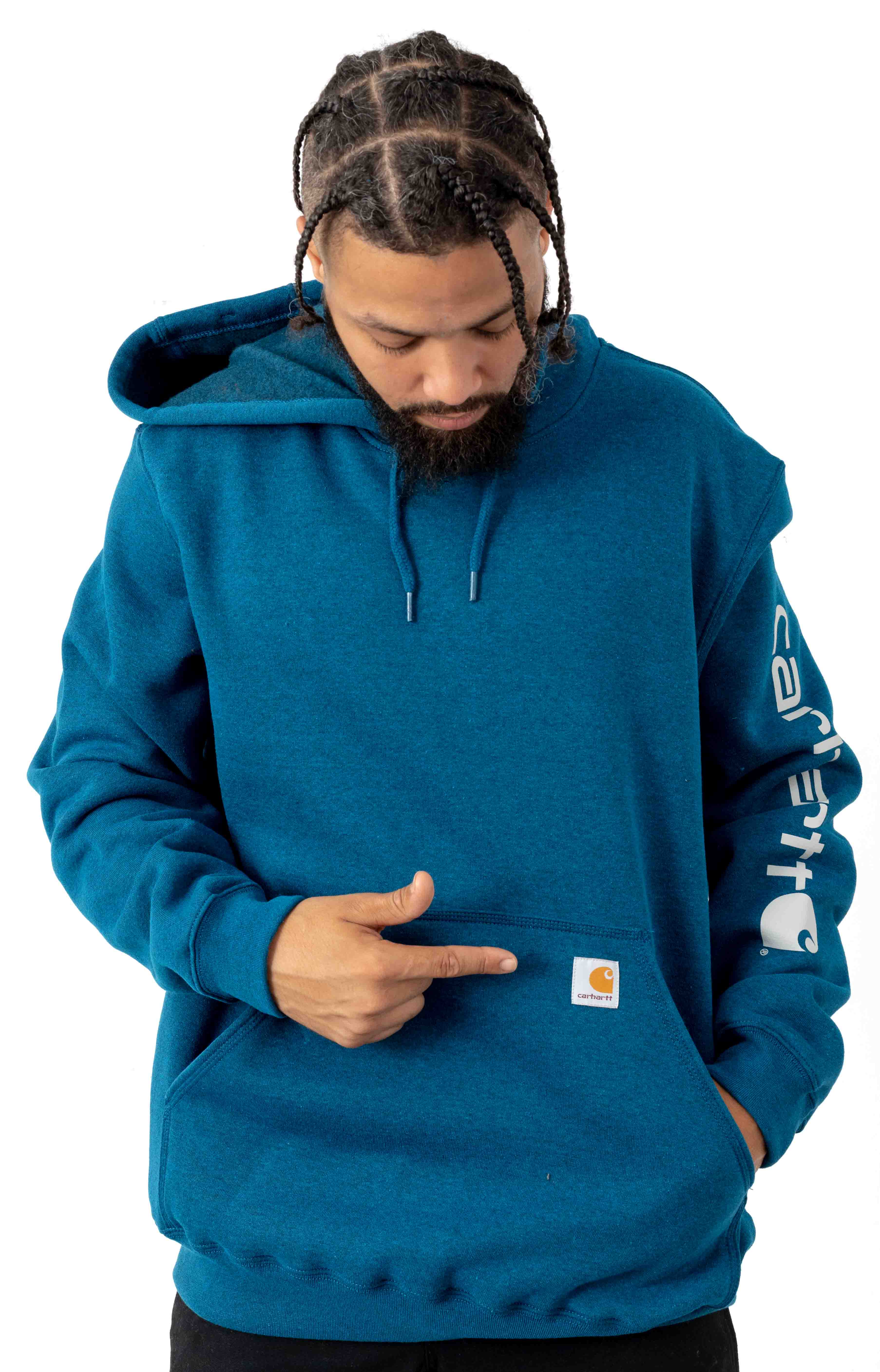 (K288) MW Signature Sleeve Logo Pullover Hoodie - Bold Blue Heather