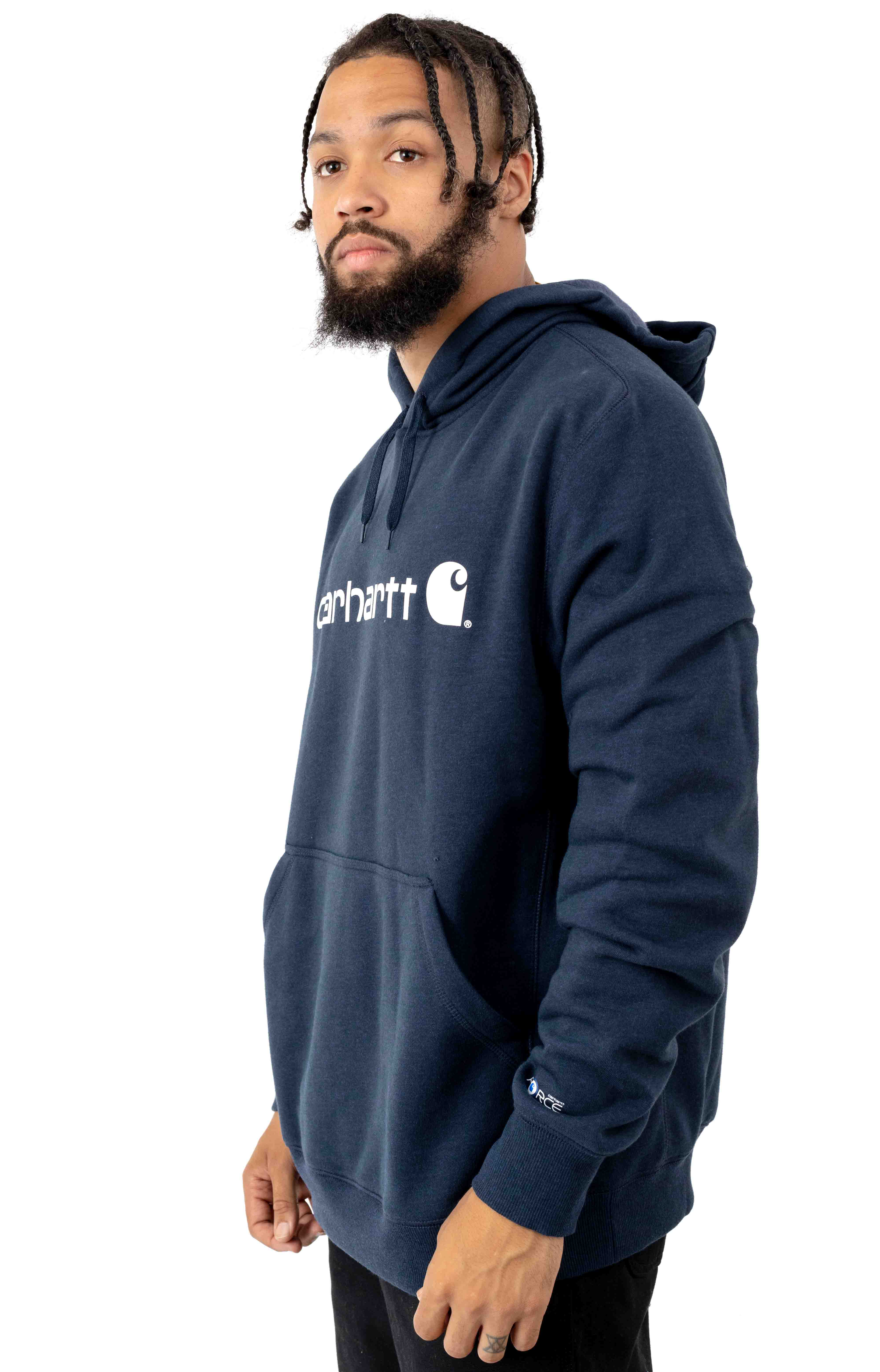 (103873) Force Delmont Signature Graphic Pullover Hoodie - Navy Heather  2