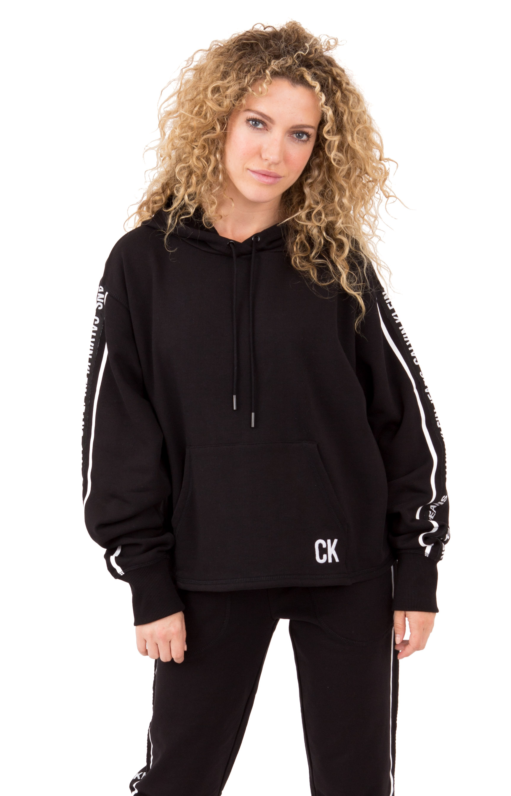 Oversized Logo Tape Cropped Hoodie - Black