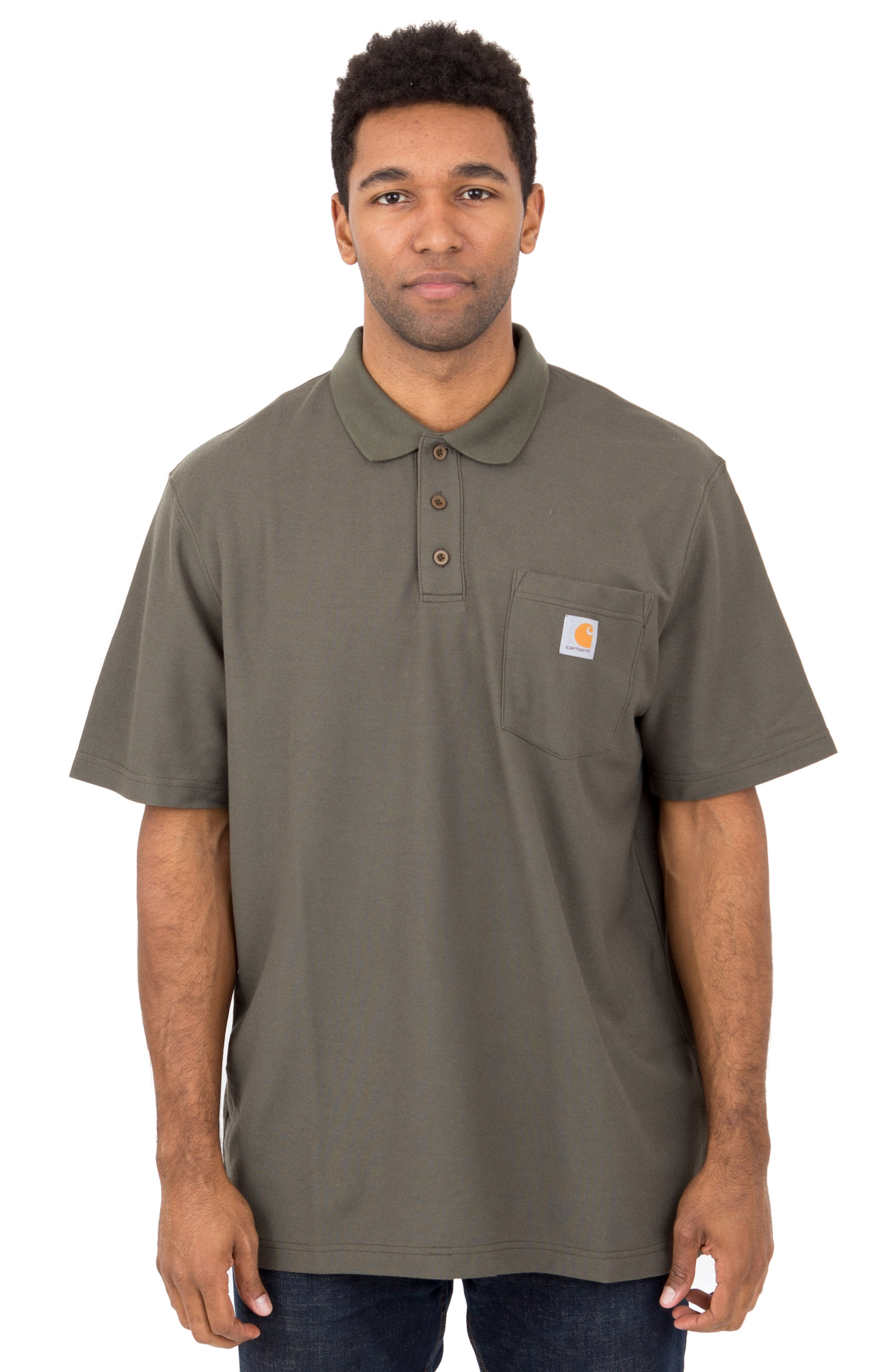 (K570) Contractor's Work Pocket Polo - Moss