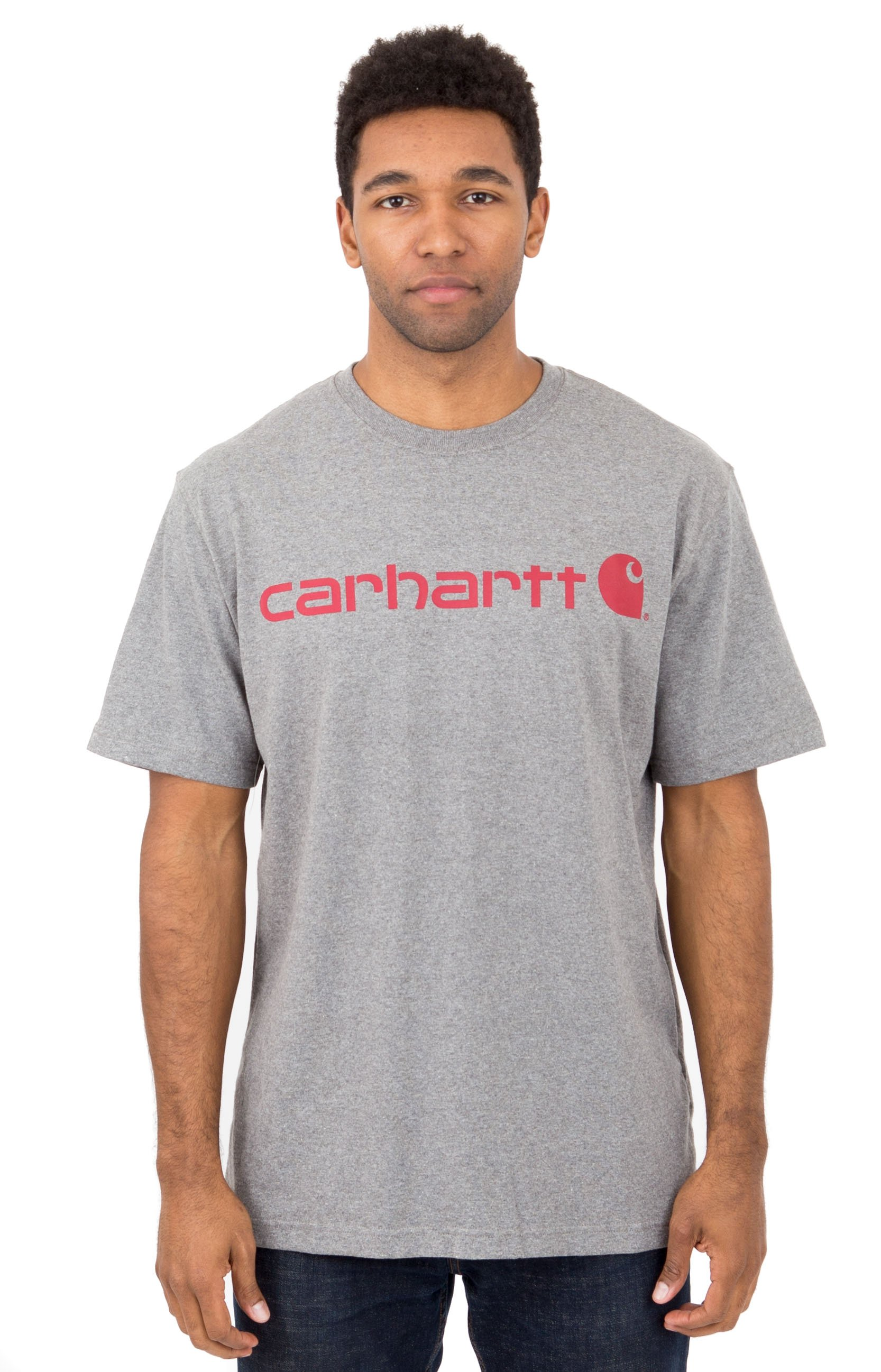 Carhartt, (K195) S/S Signature Logo T-Shirt - Granite Heather