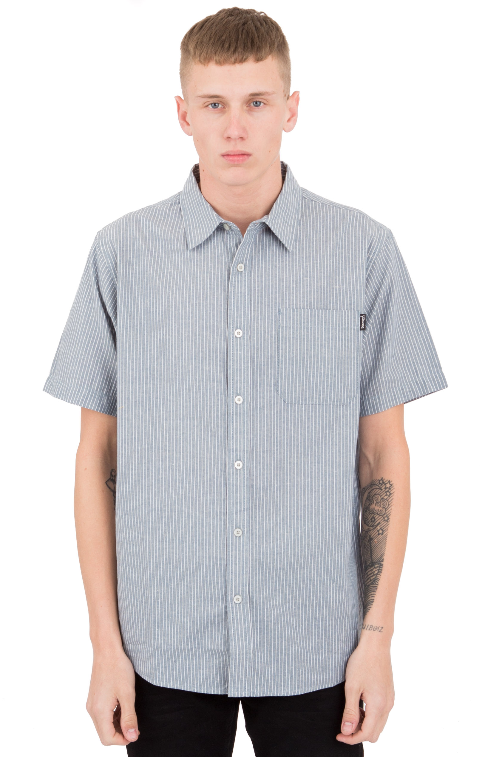 Striped S/S Woven Button-Up Shirt - Blue
