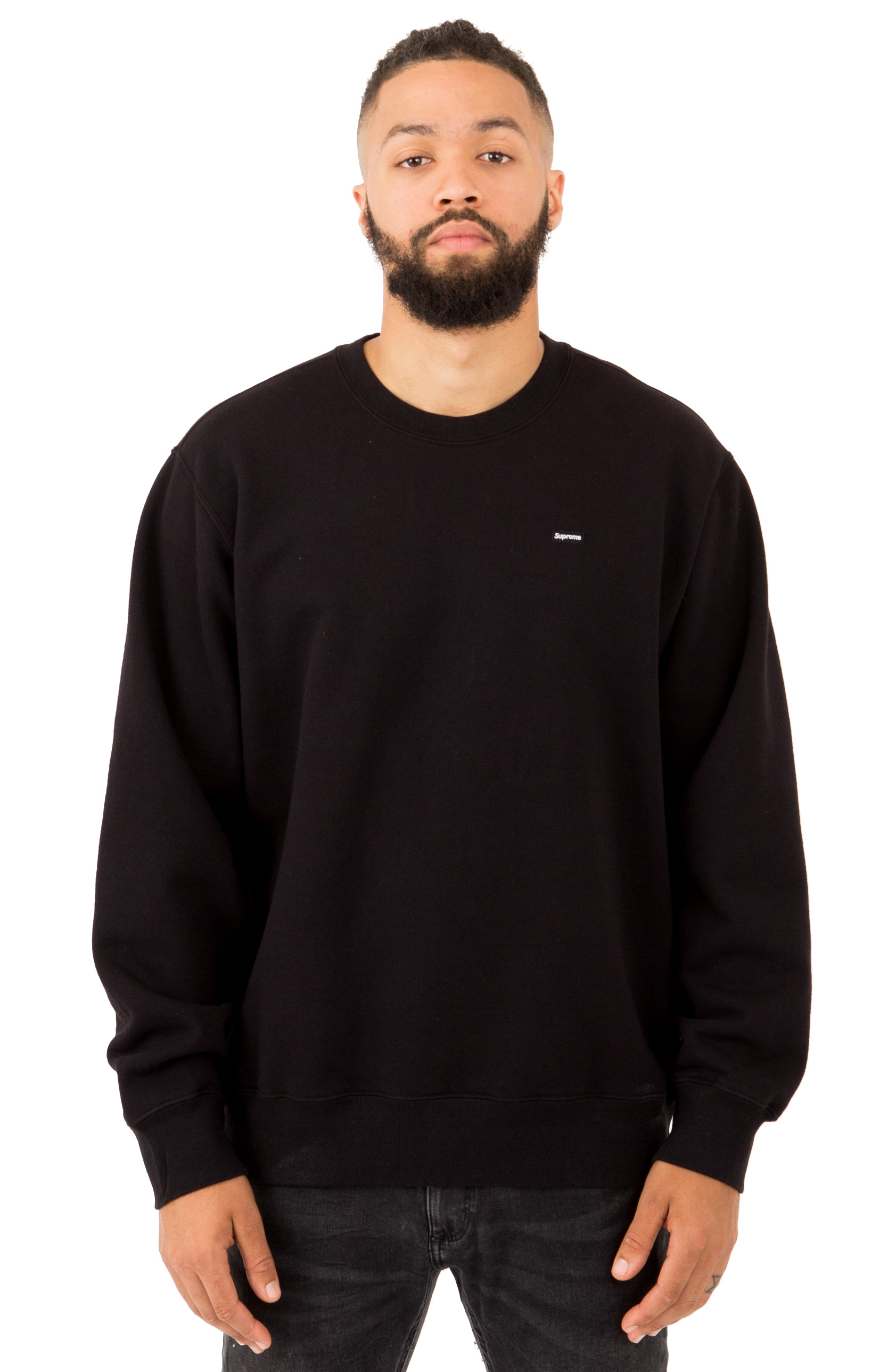 Small Box Contrast Crewneck - Black