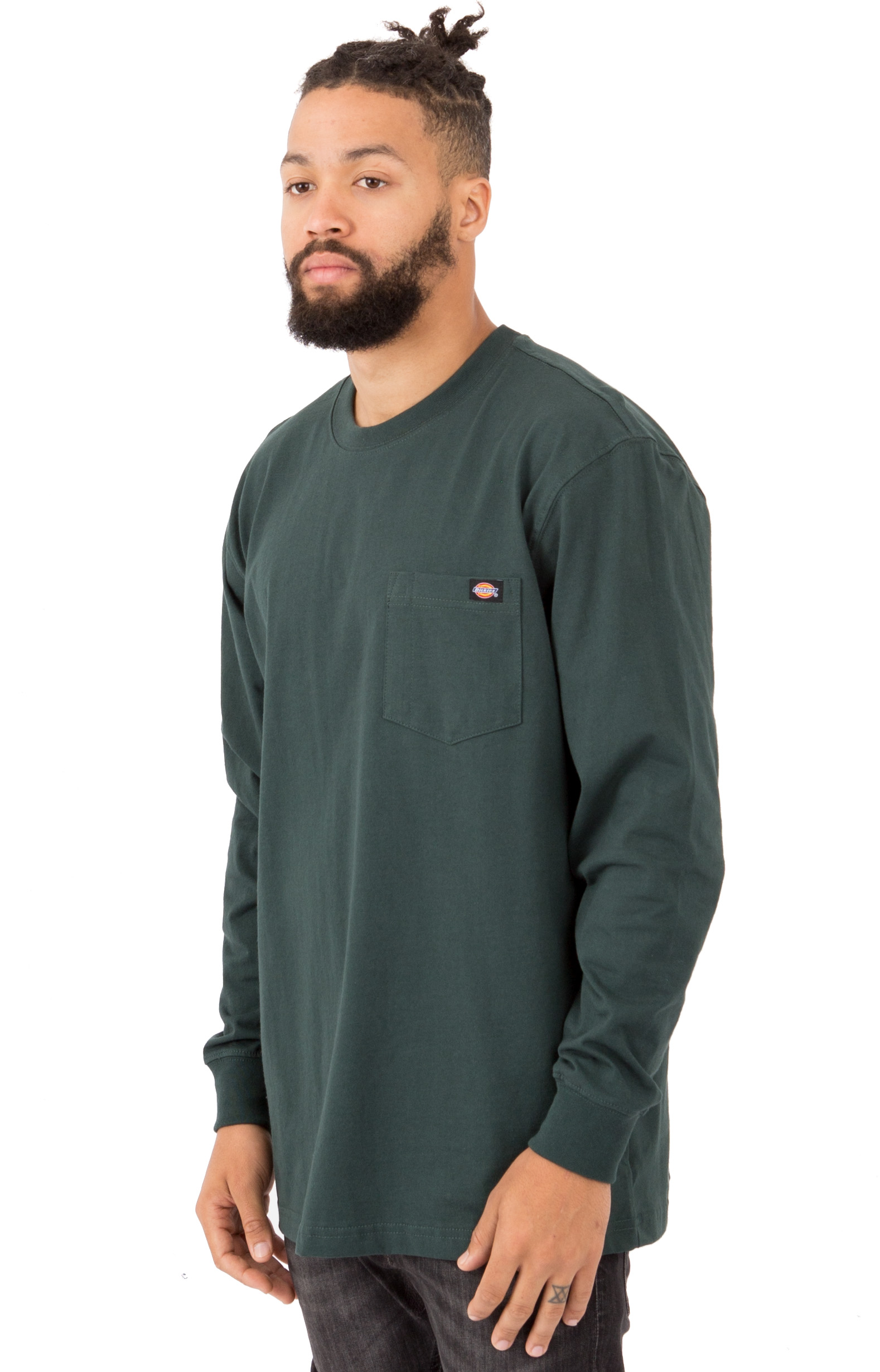 (WL450GH) Long Sleeve Heavyweight Crew Neck Shirt - Hunter Green 2