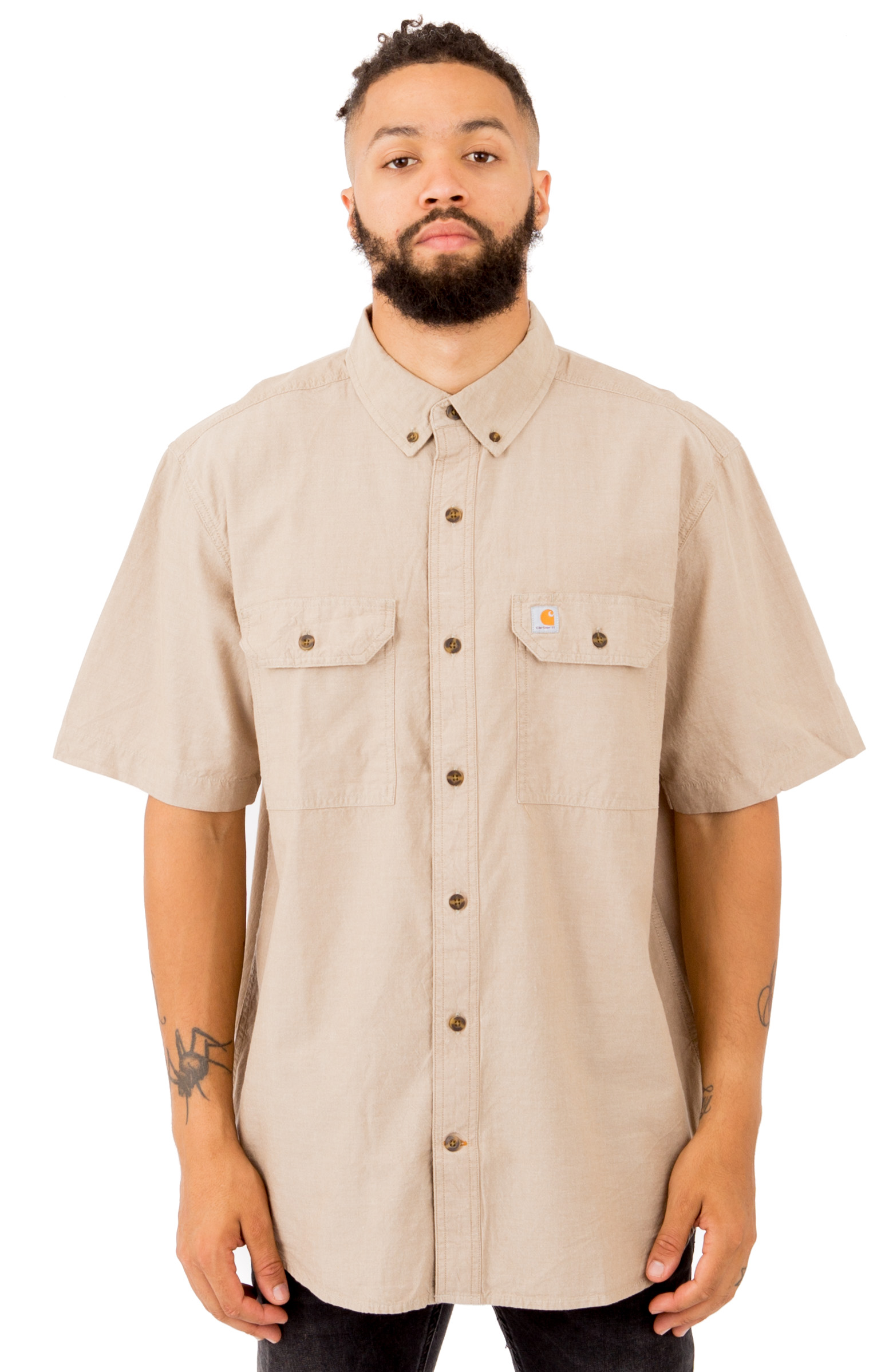 (S200) Fort S/S Chambray Button-Up Shirt - Dark Tan Chambray