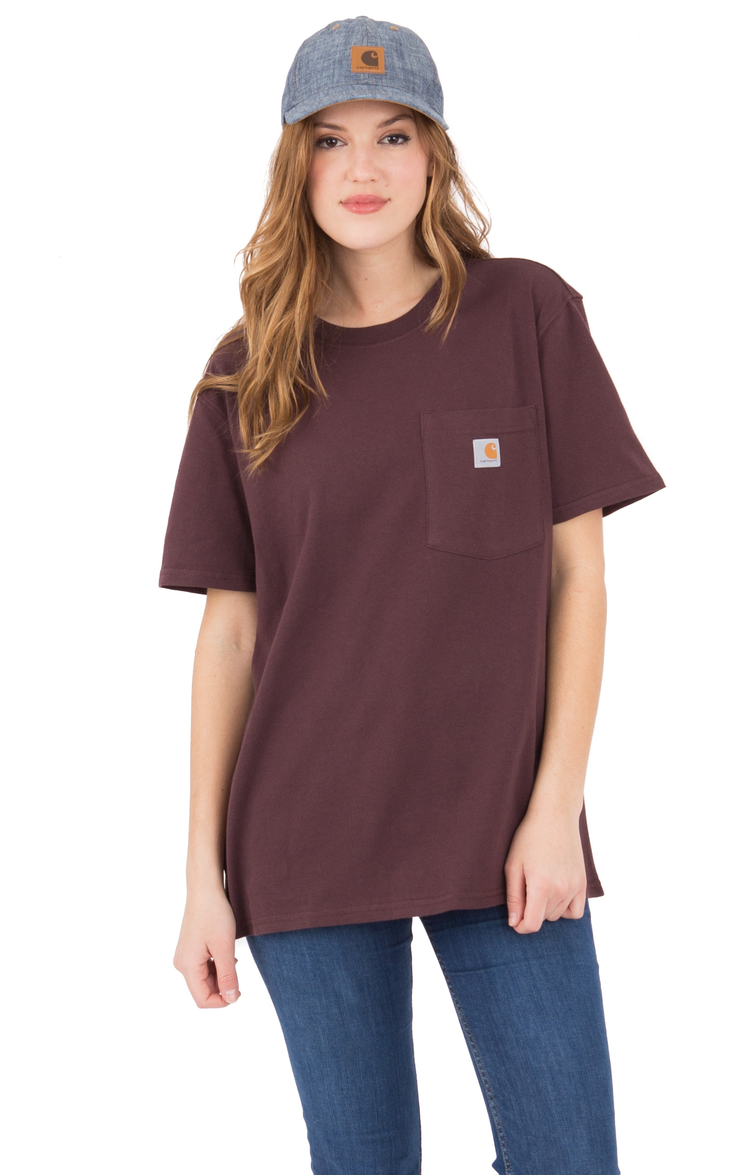 Carhartt Womens, (103067) WK87 Workwear Pocket T-Shirt - Deep Wine
