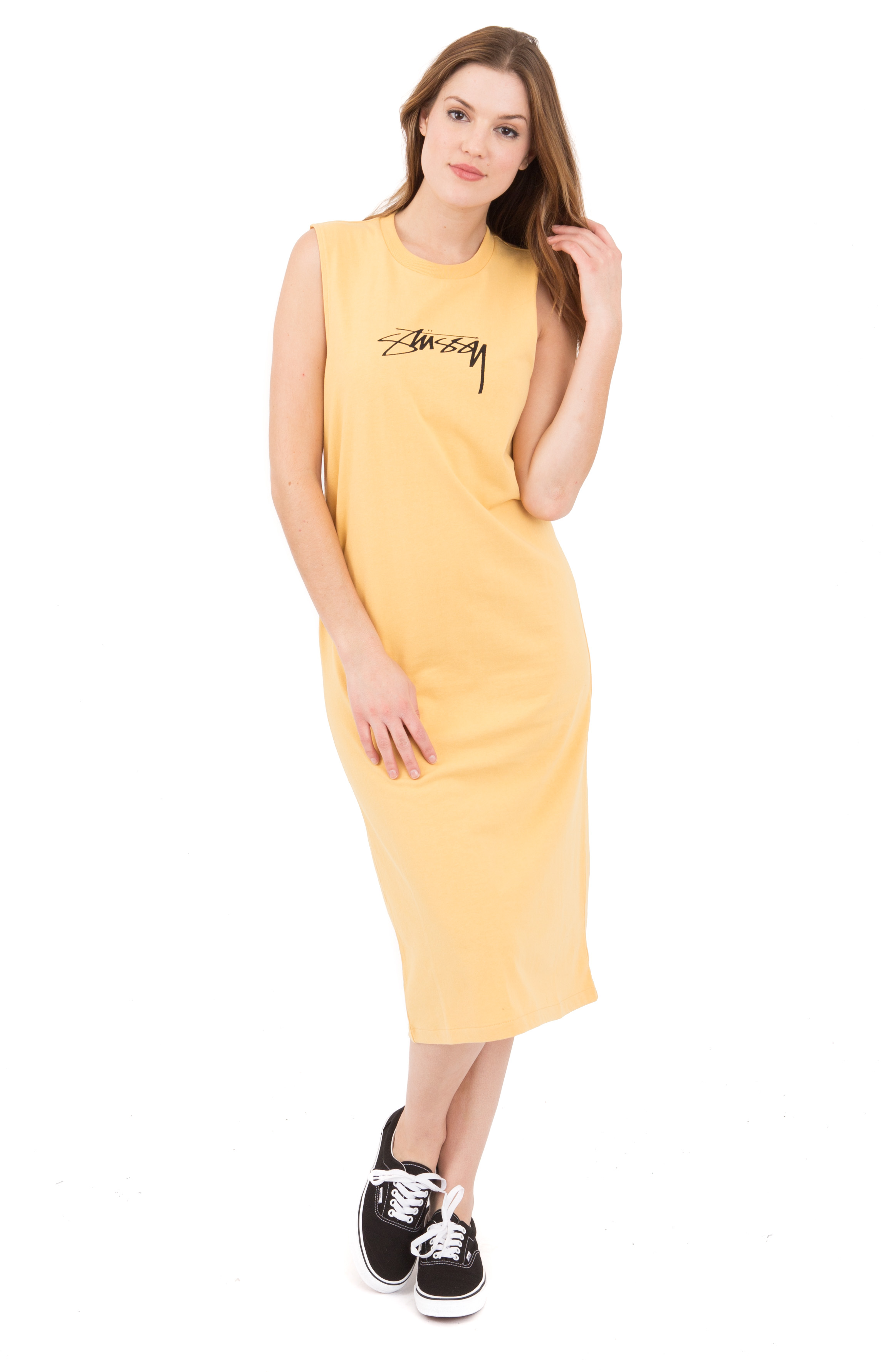 Ezra Muscle Dress - White Yellow