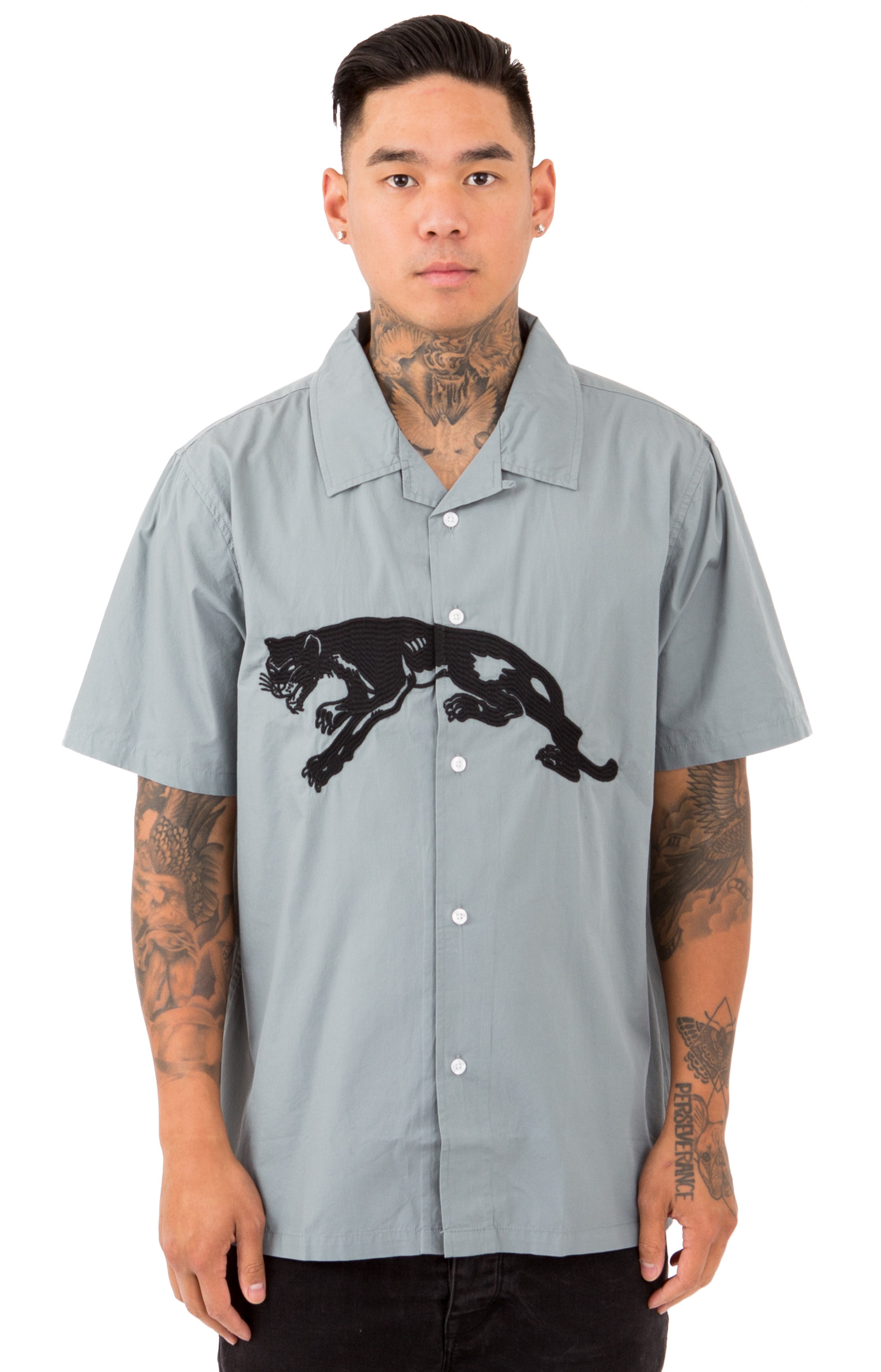 Stussy, Panther S/S Button-Up Shirt - Grey