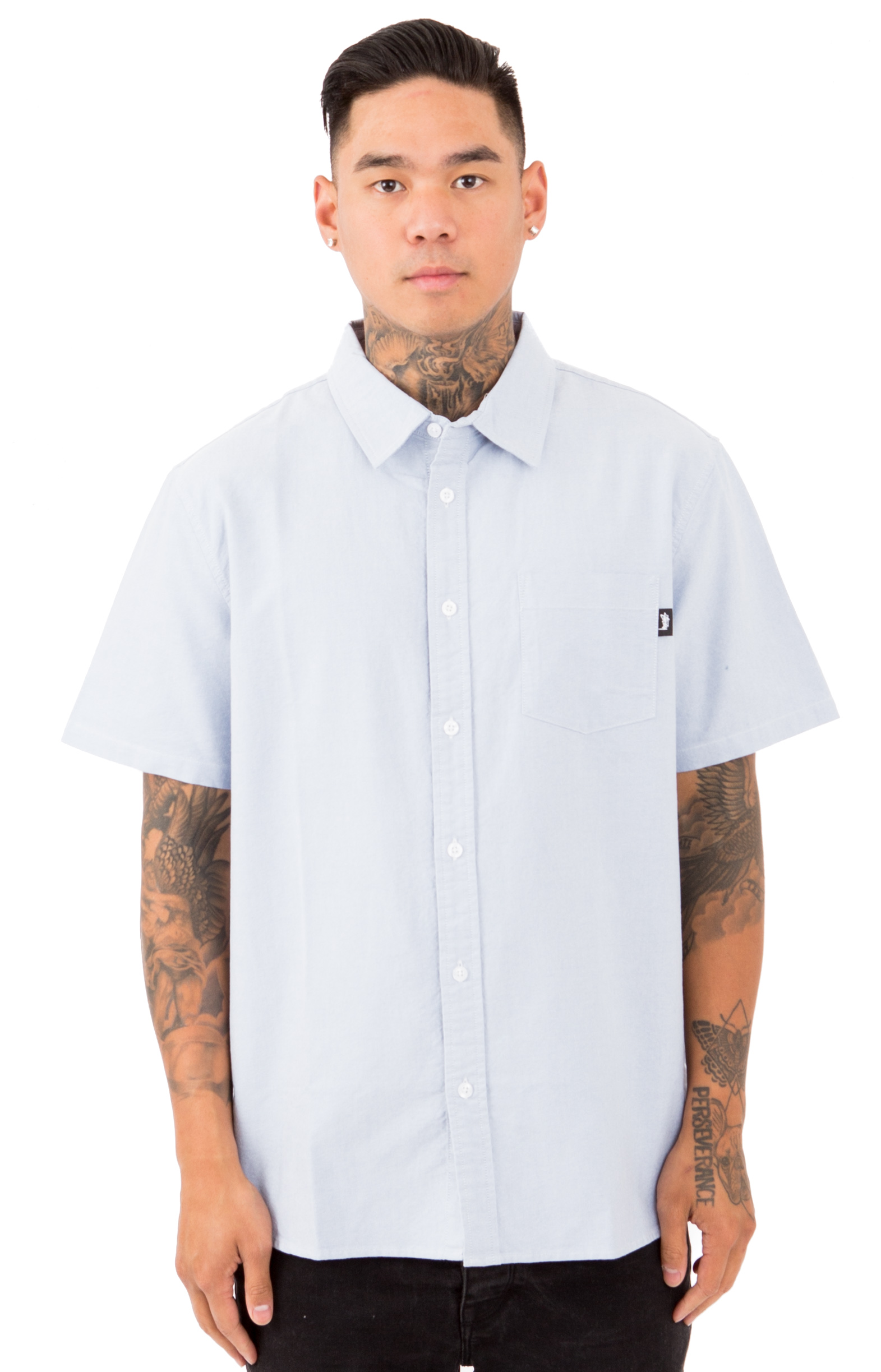 Frank Oxford S/S Button-Up Shirt - Blue