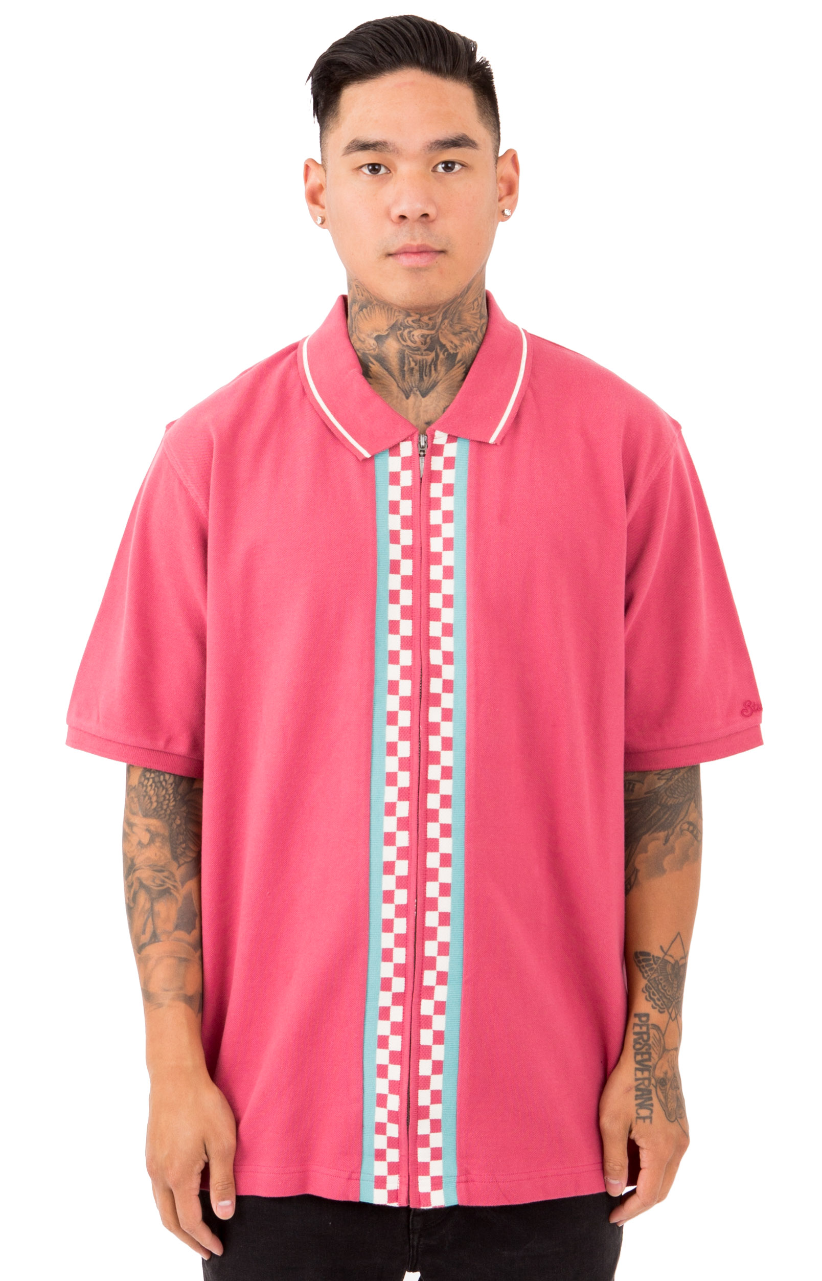 Julian Full Zip Polo - Rose