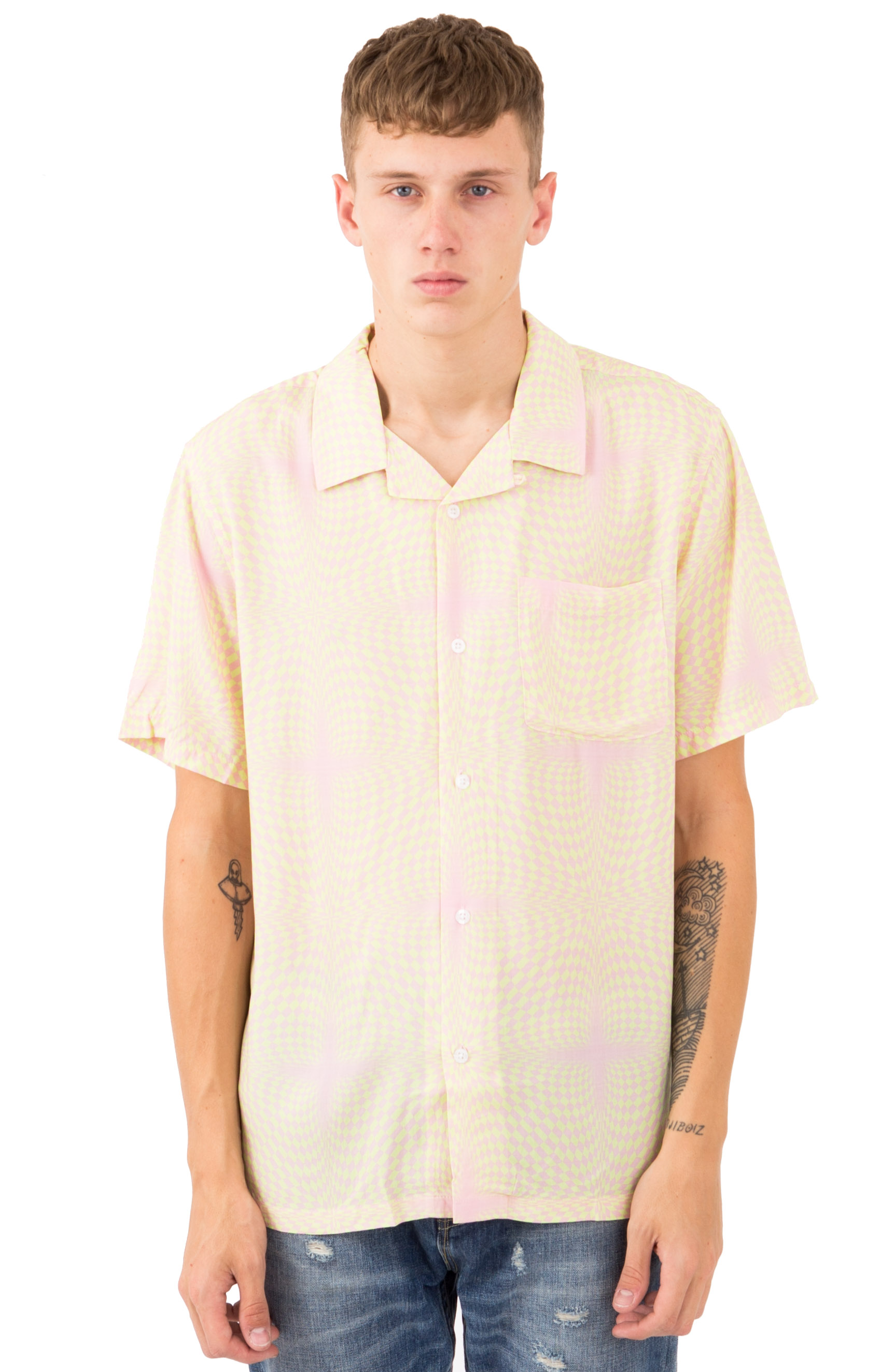 Psychedelic Checker Button-Up Shirt - Peach