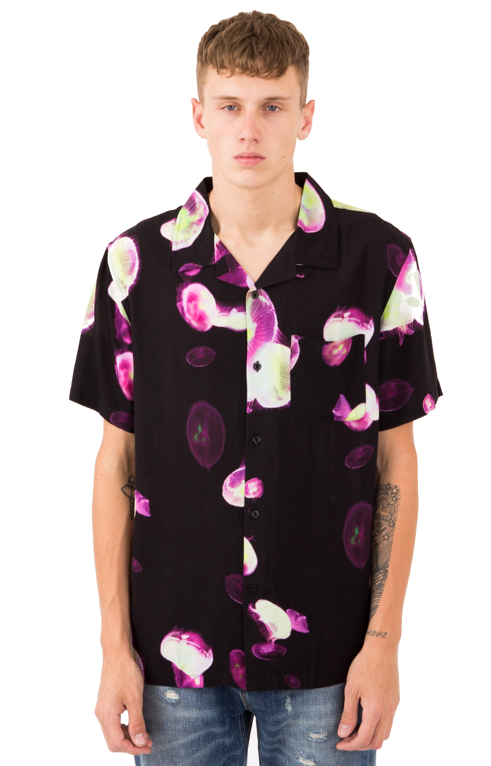 Stussy 76801 Jelly Fish Printed Button-Up Shirt - Black