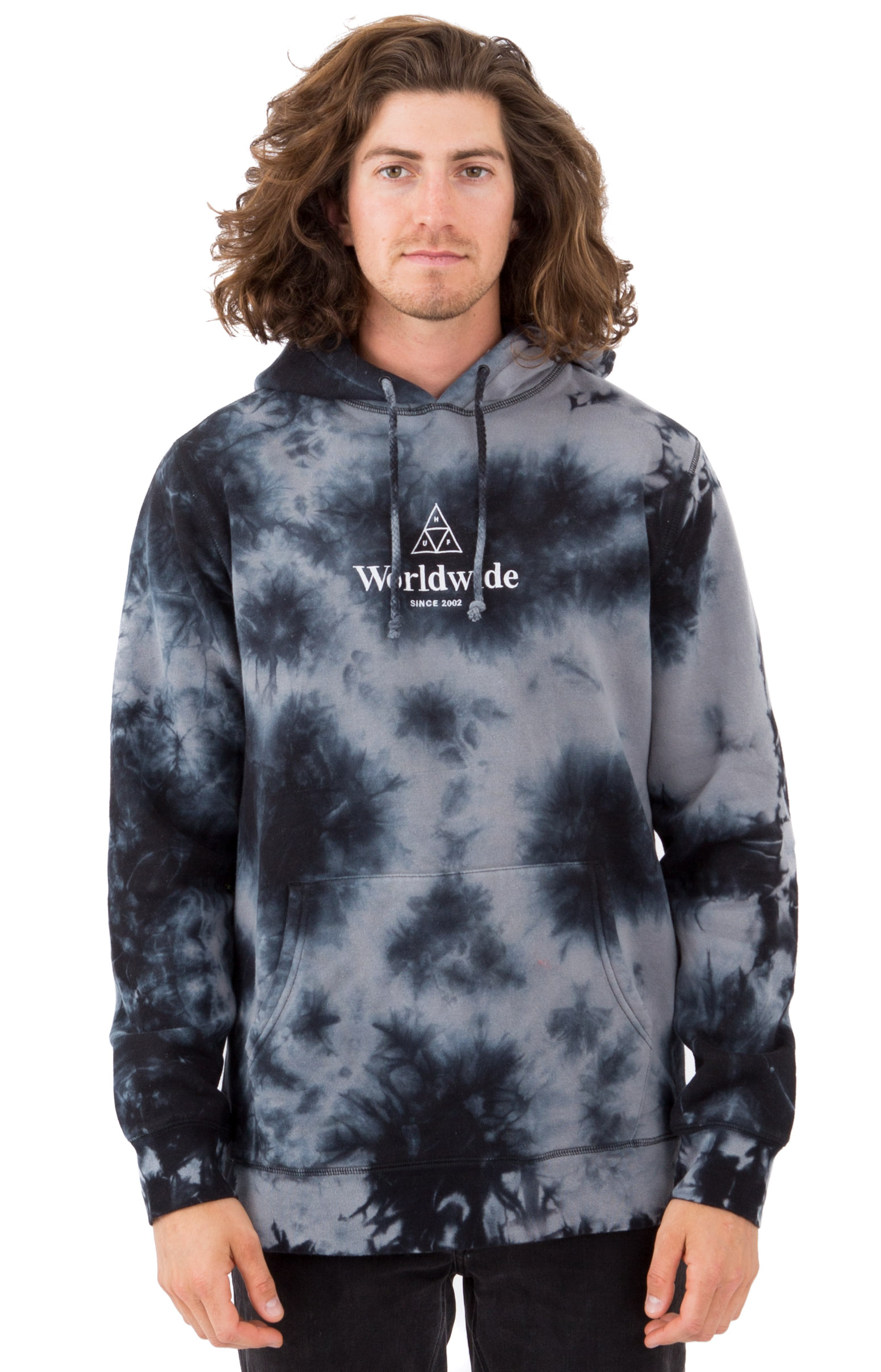 Huf, WW Triple Triangle Crystal Wash Pullover Hoodie - Black