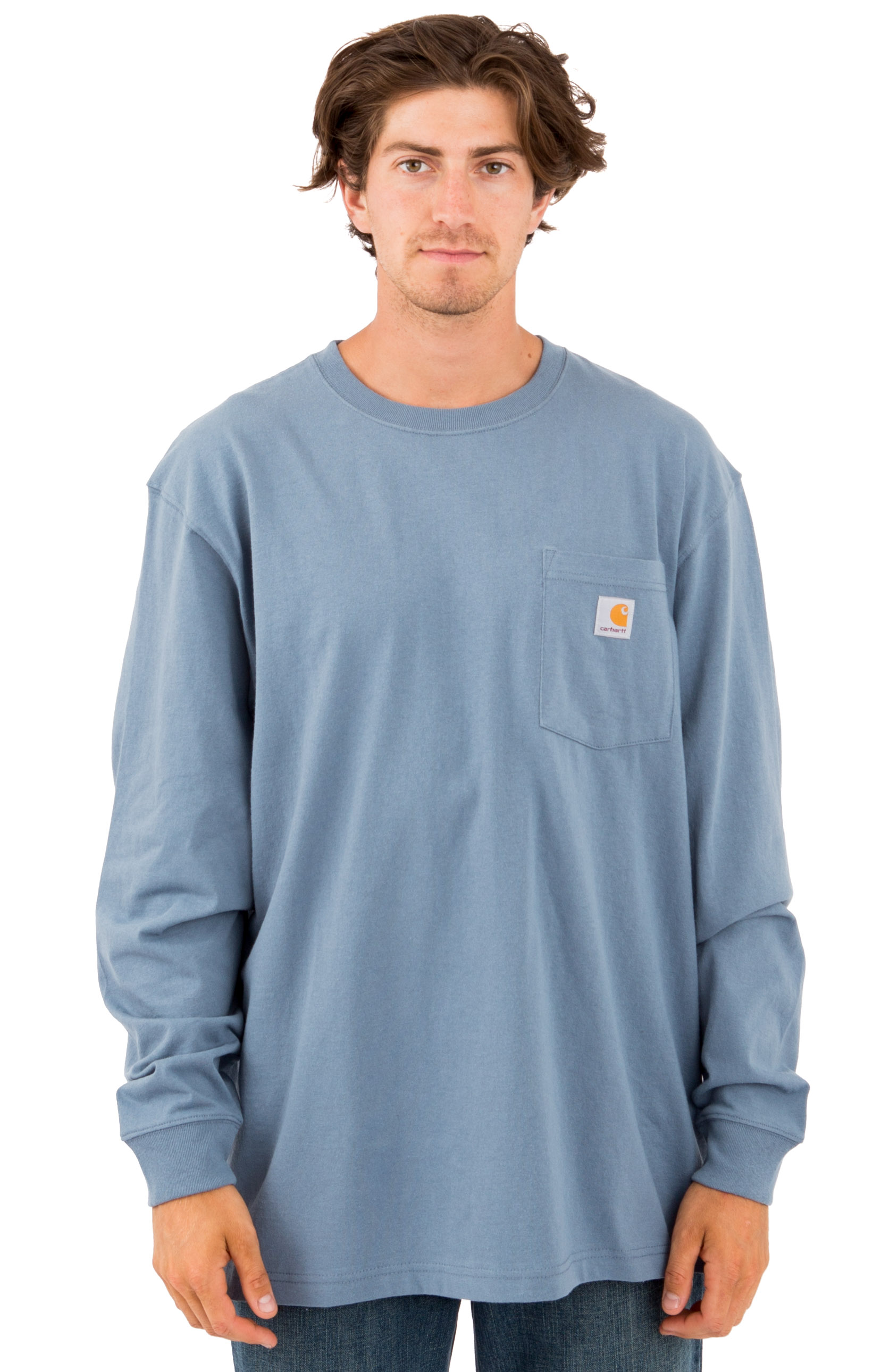(K126) L/S Workwear Pocket Shirt - Steel Blue