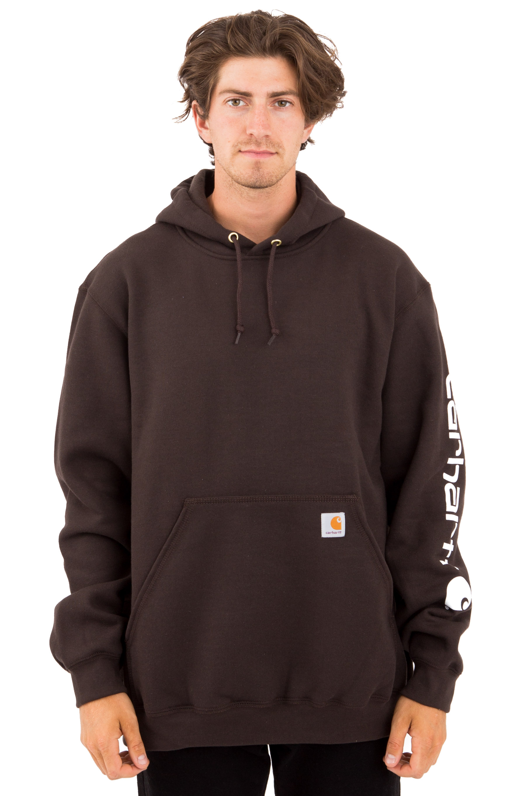 (K288) MW Signature Sleeve Logo Pullover Hoodie - Dark Brown
