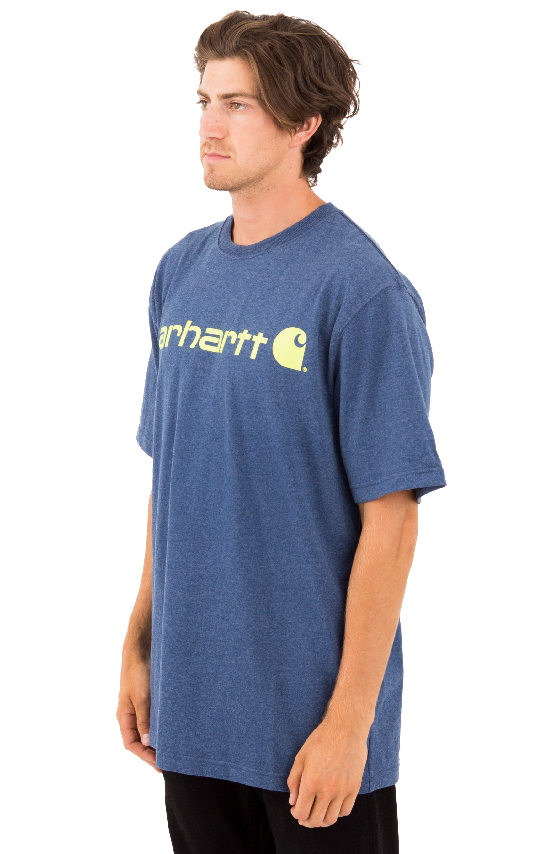 (K195) S/S Signature Logo T-Shirt - Dark Cobalt Blue Heather 2