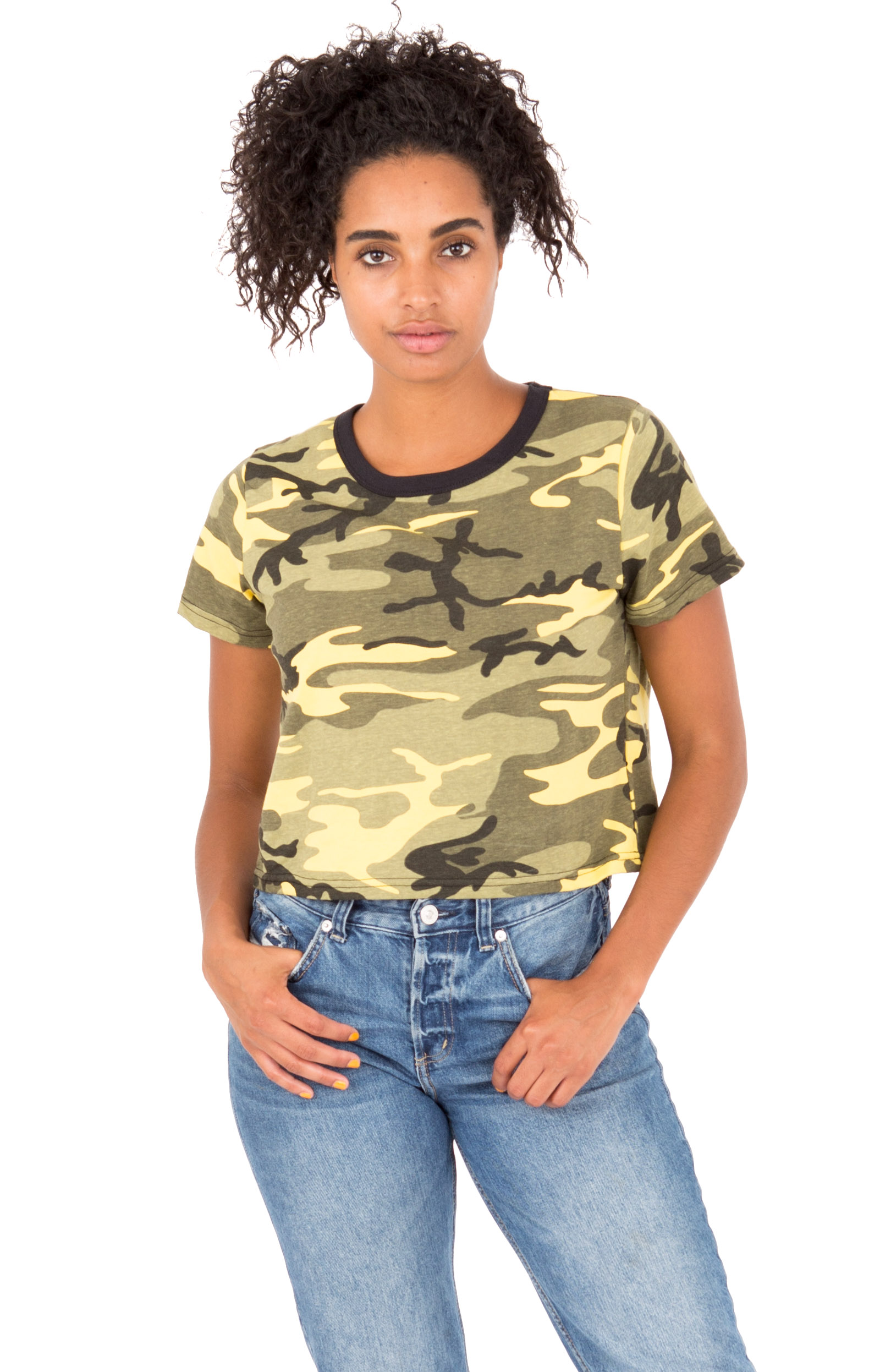 (1944) Camo Crop Top - Stinger Yellow Camo