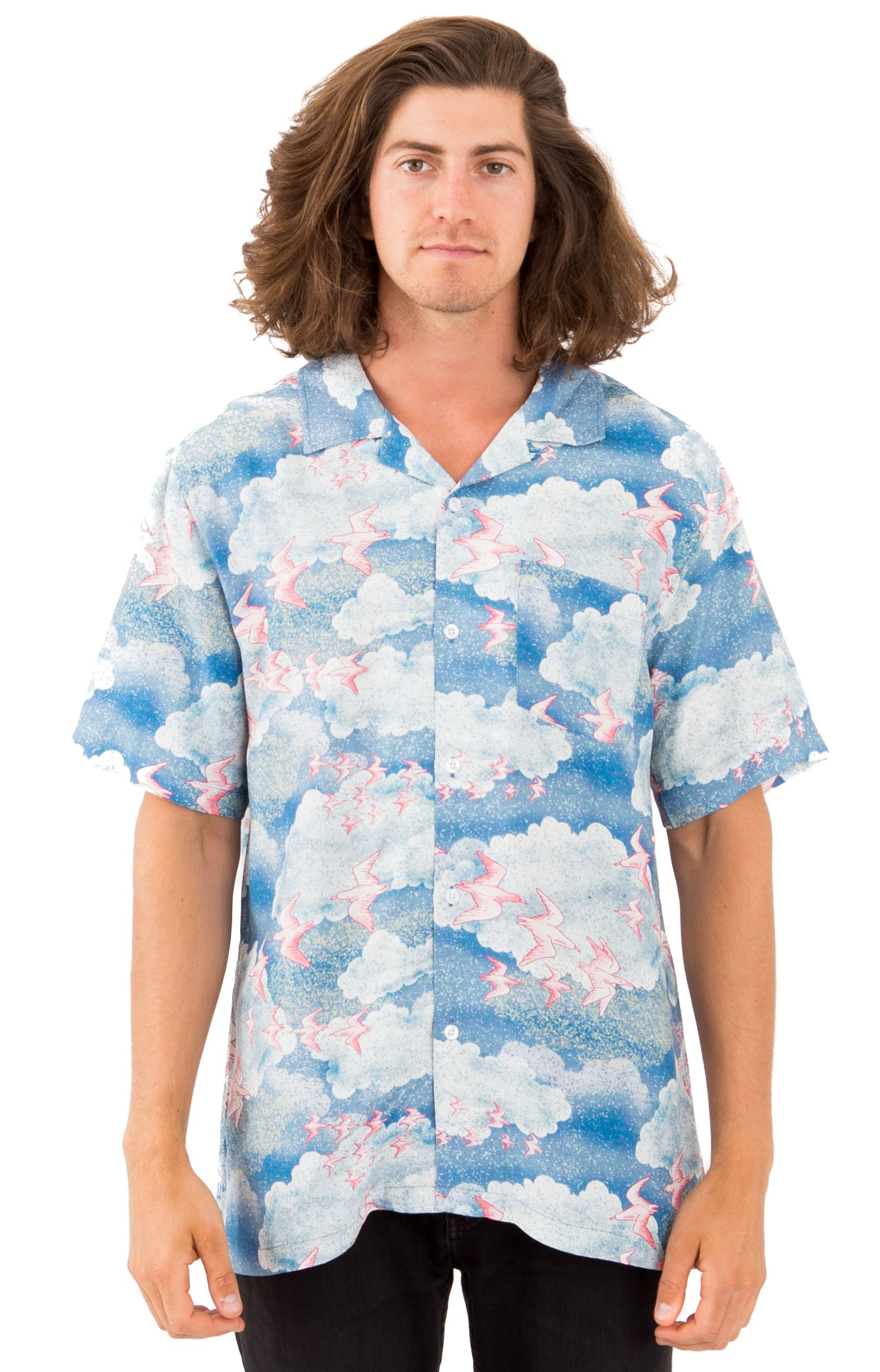 Cloud And Birds Button-Up Shirt - Blue