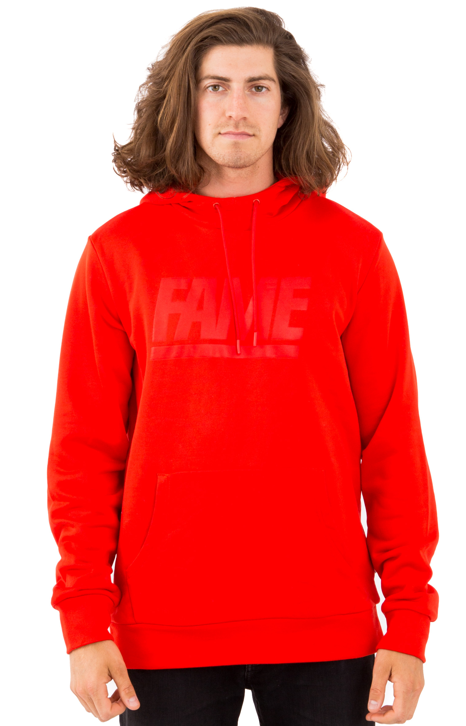 Fame Block Press Pullover Hoodie - Red