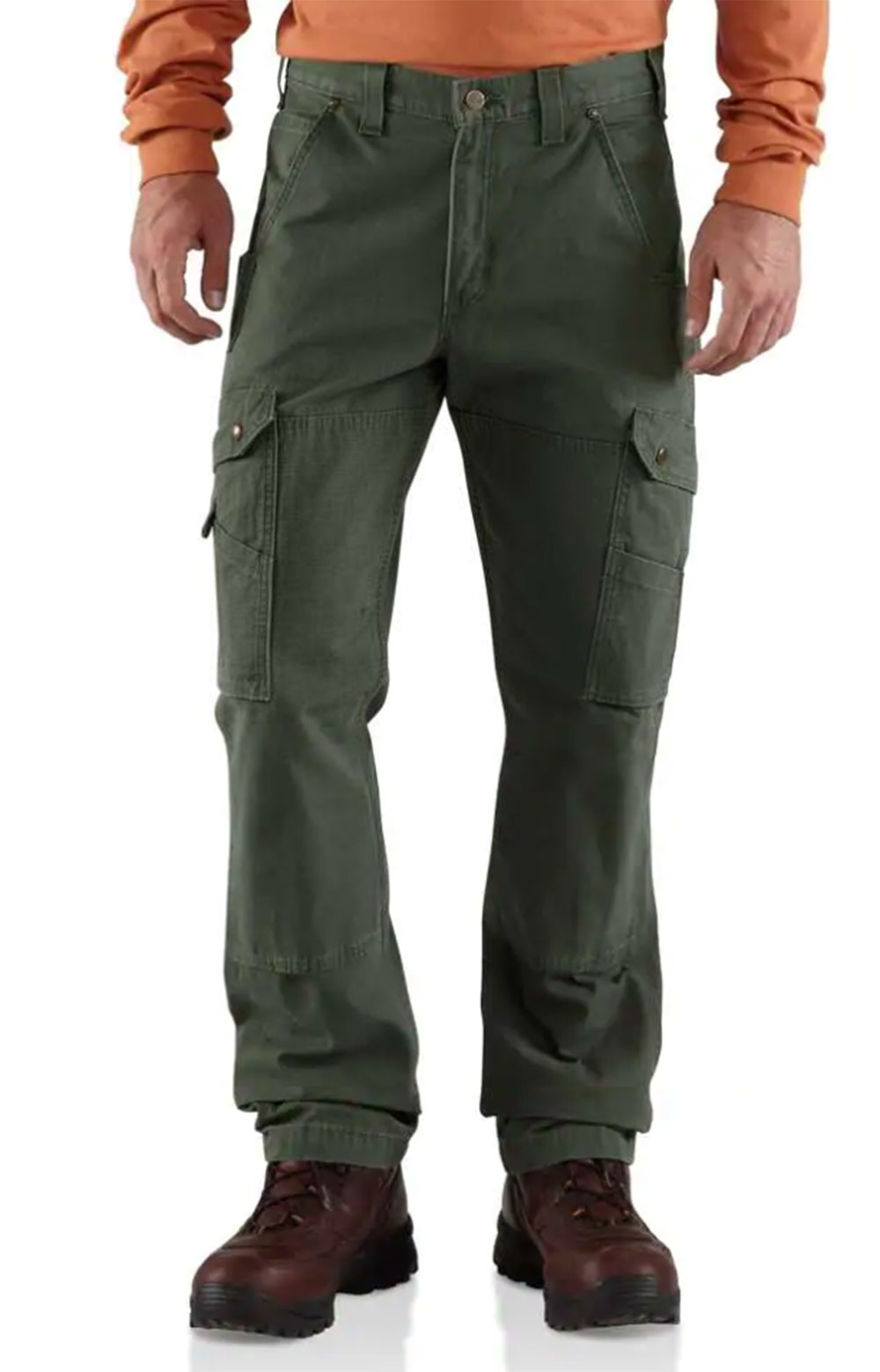 (B342) Cotton Ripstop Relaxed Fit Double Front Cargo Work Pant - Moss
