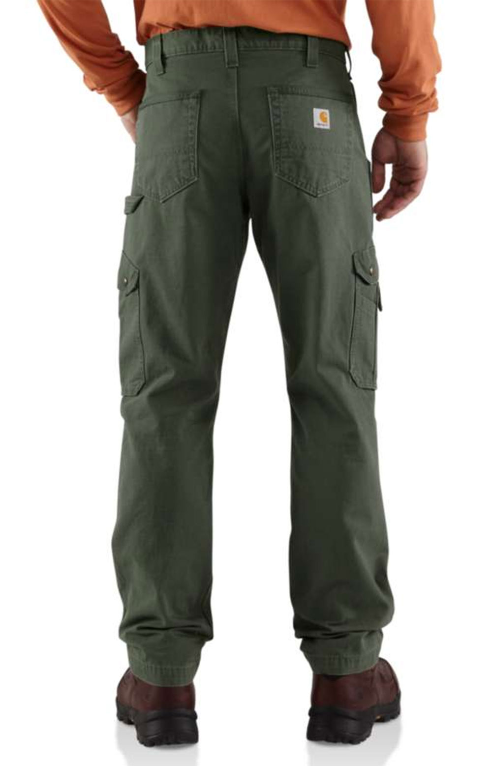 (B342) Cotton Ripstop Relaxed Fit Double Front Cargo Work Pant - Moss  2
