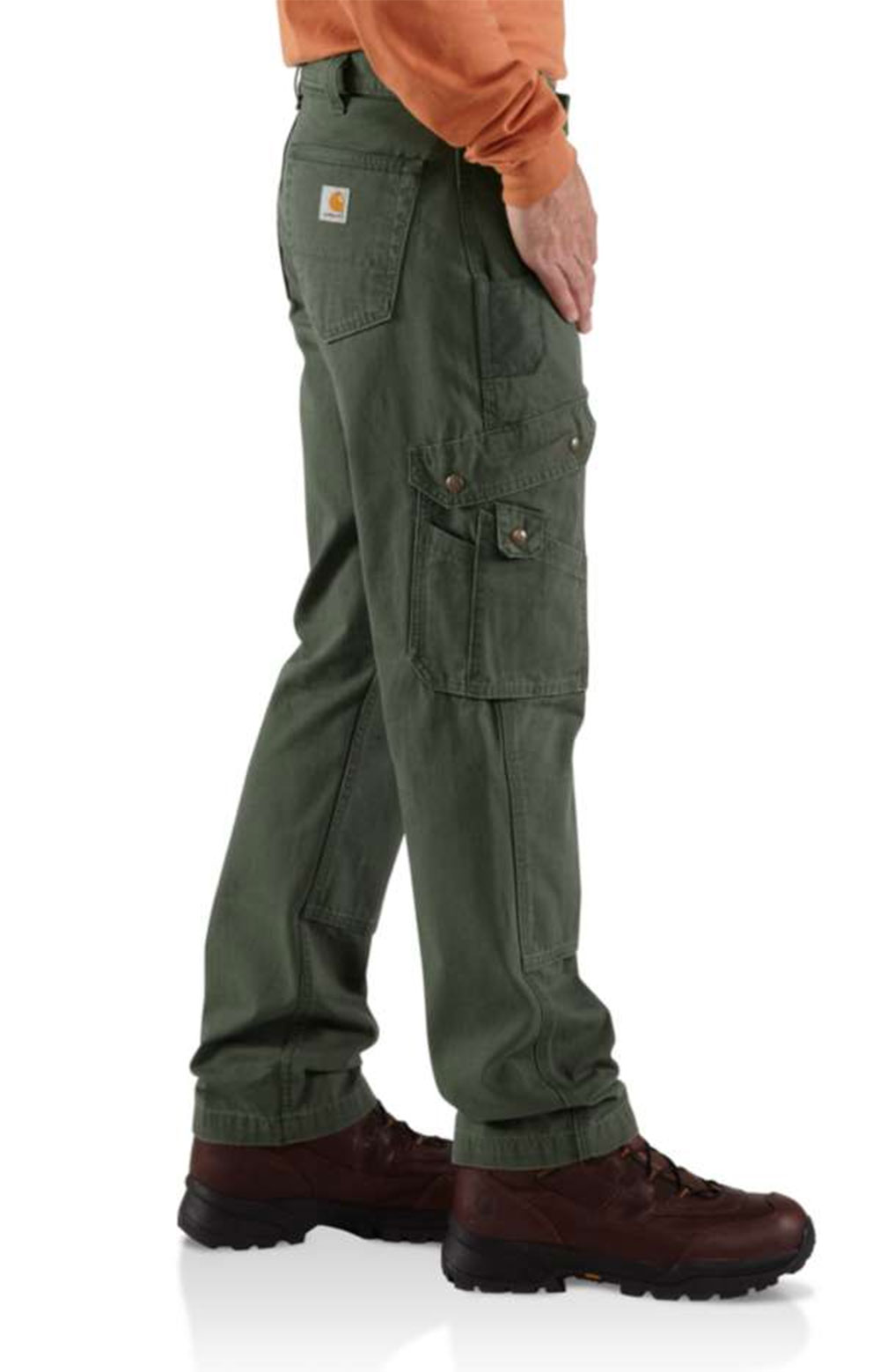 (B342) Cotton Ripstop Relaxed Fit Double Front Cargo Work Pant - Moss  3
