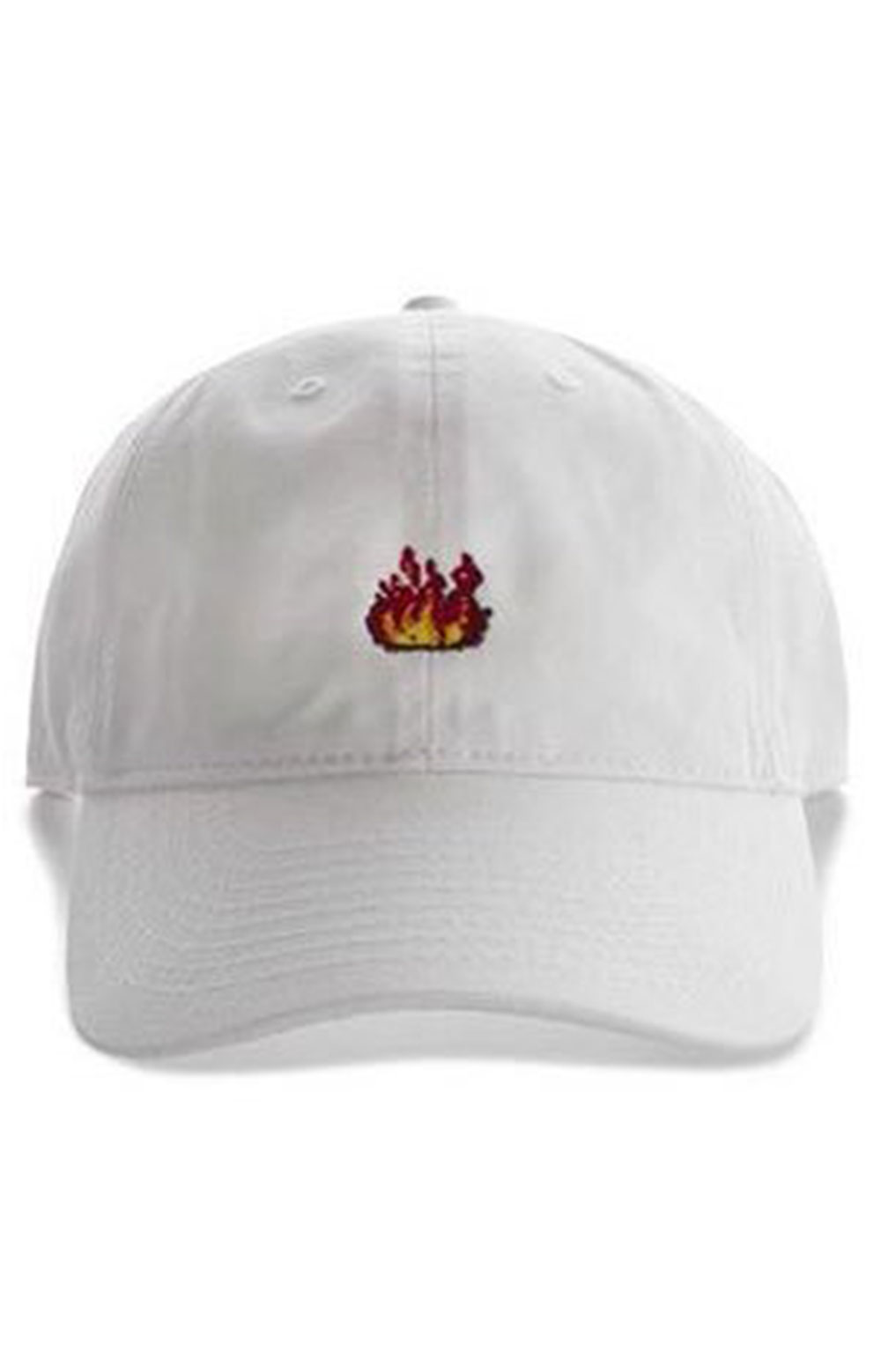 Flames Dad Hat - White
