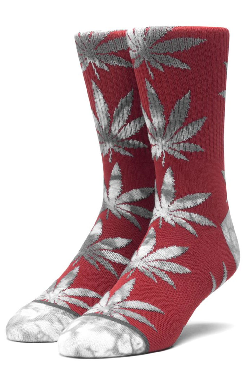 Tie-Dye Leaves Plantlife Sock - Rose Wood Red
