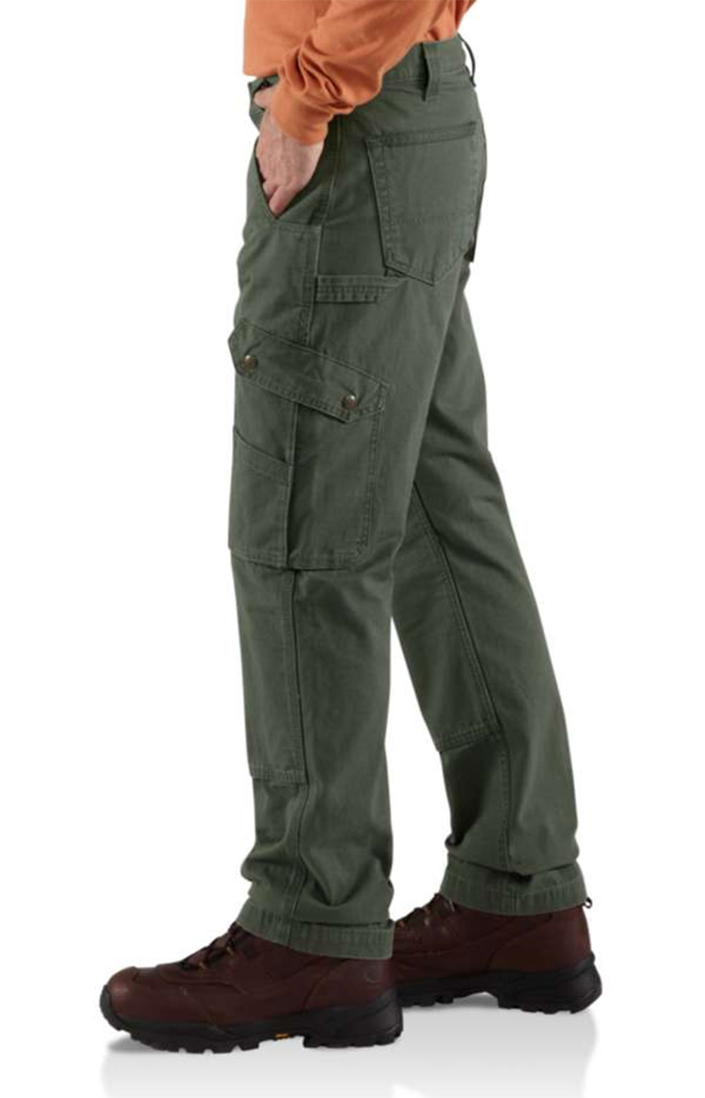 (B342) Cotton Ripstop Relaxed Fit Double Front Cargo Work Pant - Moss  4