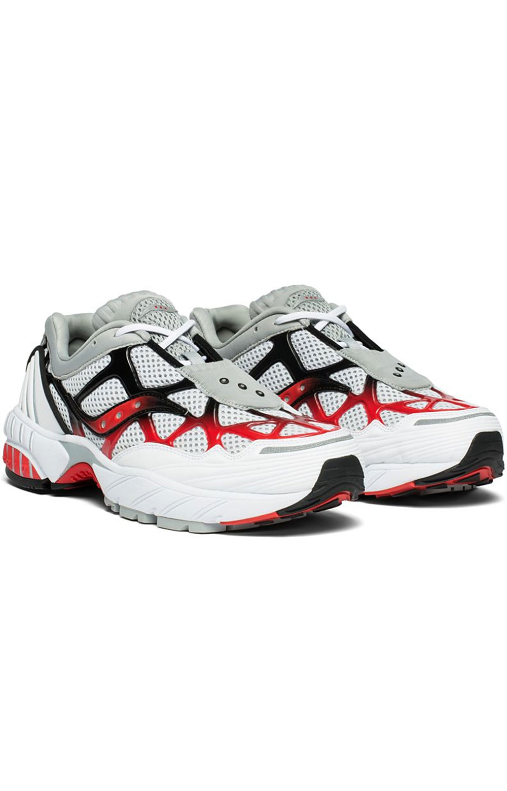 (S70466-2) Grid Web Shoe - White/Grey/Red 2