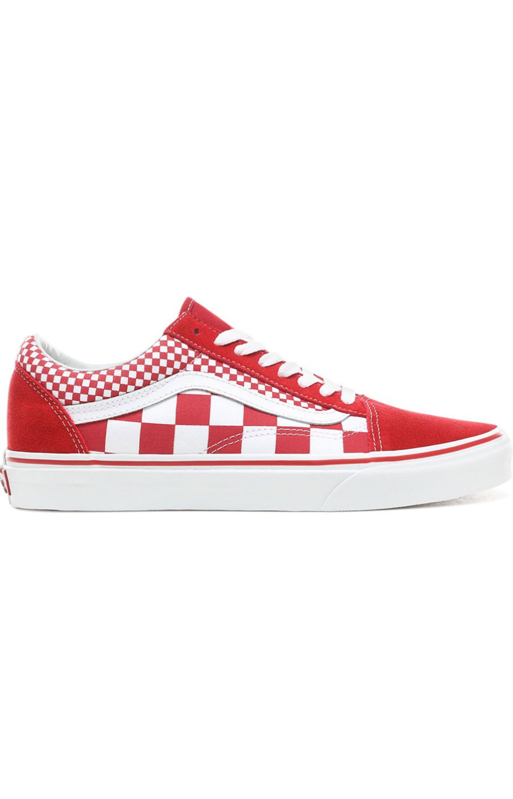 (8G1VK5-) Mix Checker Old Skool Shoe - Red