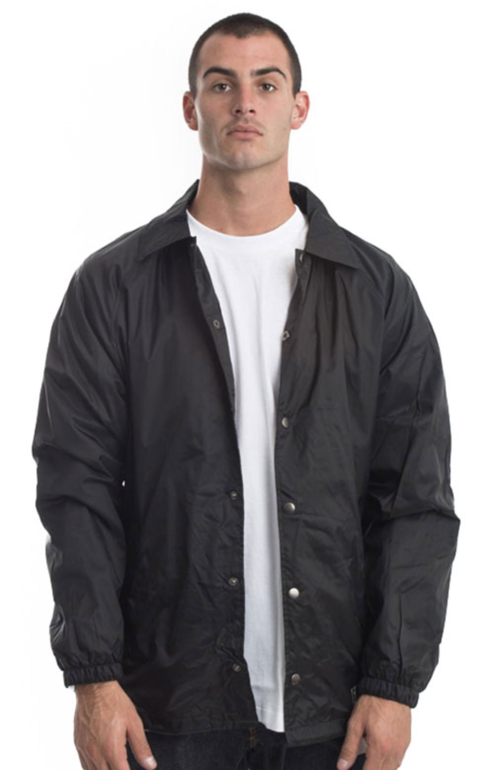 (76242BK) Snap Front Nylon Jacket - Black