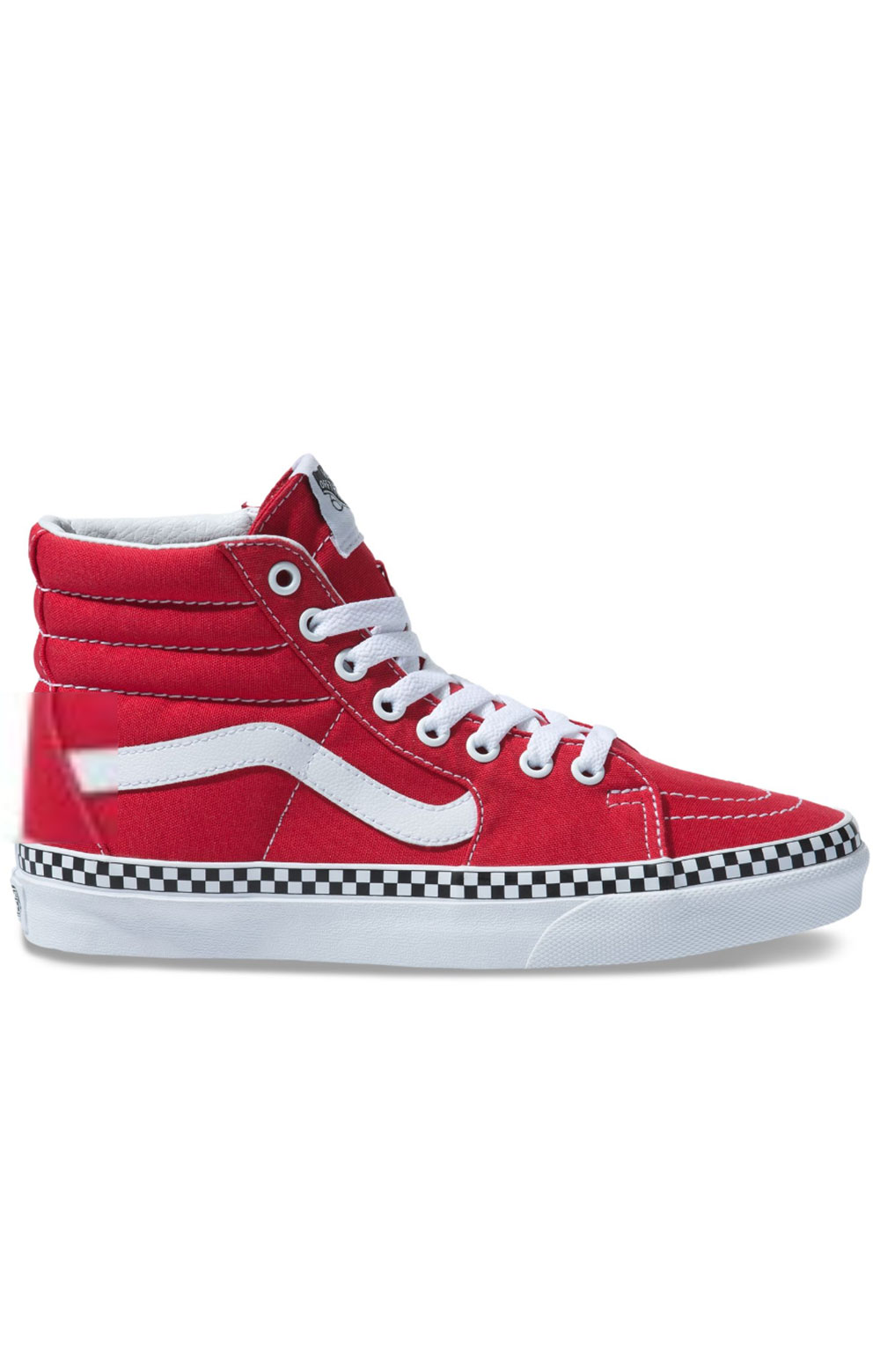 (8GEVS5) Check Foxing Sk8-Hi Shoe - Racing Red