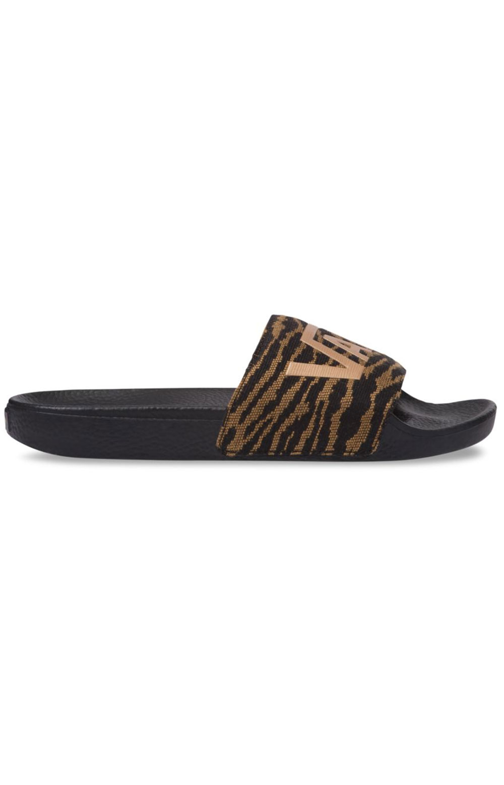 Woven Tiger Slide-On Sandals - Black